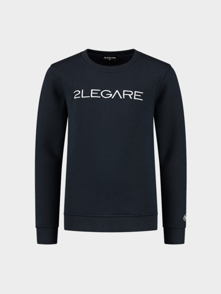 Kids Embroidery Sweater - Navy/White