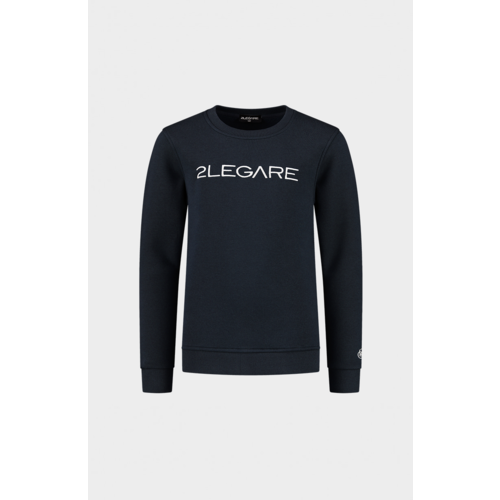 2LEGARE Kids Embroidery Sweater - Navy/White