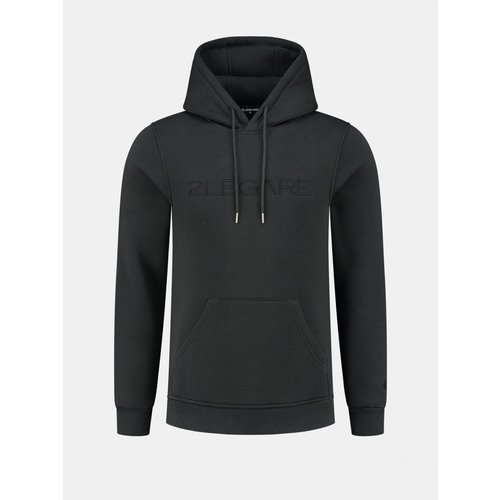2LEGARE Logo Embroidery Hoodie - Antra/Black