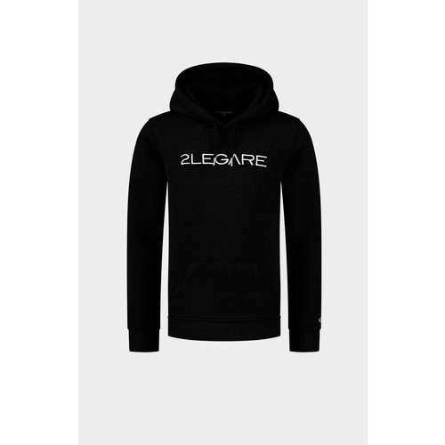 2LEGARE Kids Embroidery Hoodie - Black/White