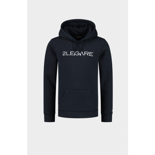 2LEGARE Kids Embroidery Hoodie - Navy/White