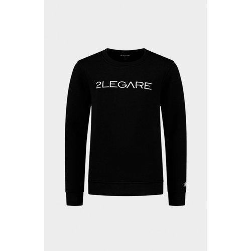 2LEGARE Kids Embroidery Sweater - Black/White