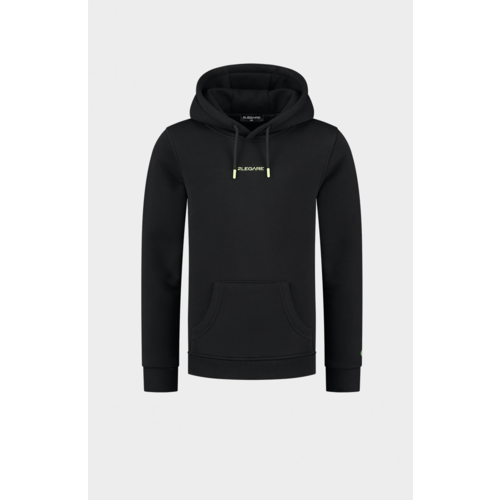 2LEGARE Kids Embroidery Small Logo Hoodie - Black/Yellow
