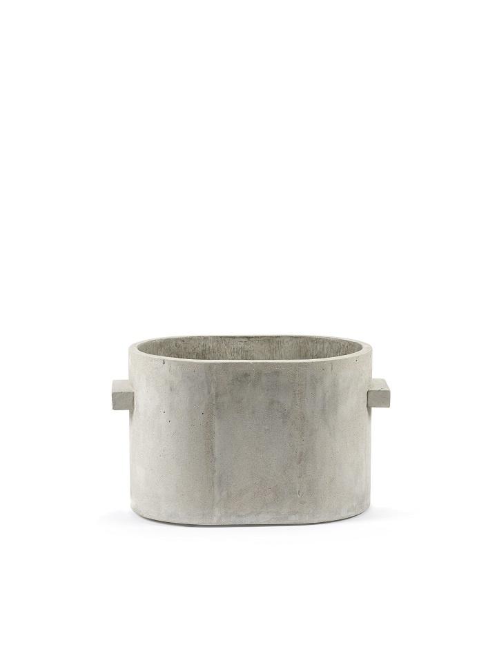 Ovale pot in ruw grijs beton - M