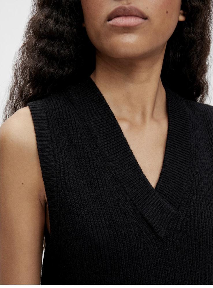 OBJECT OBJECT - objmalena s/l knit waistcoat noos - zwart