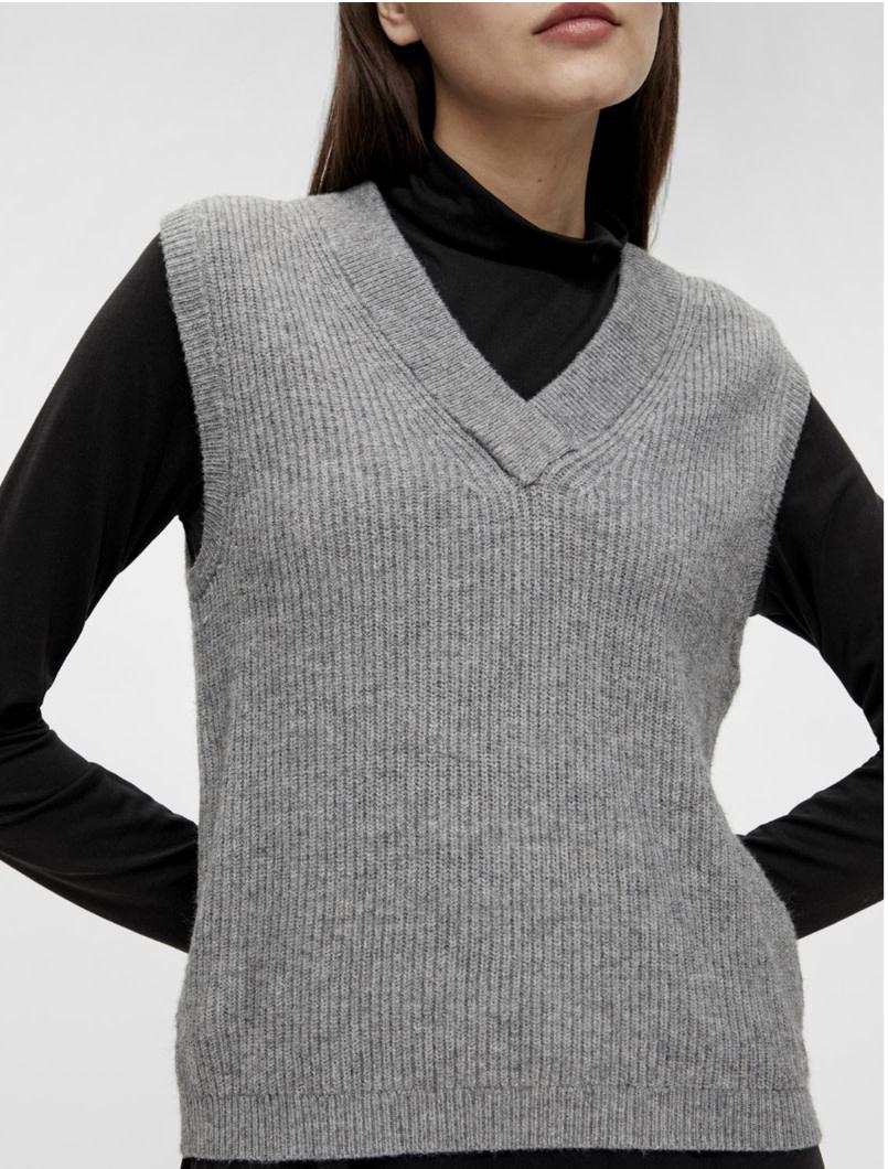 OBJECT OBJECT - objmalena s/l knit waistcoat noos - grijs
