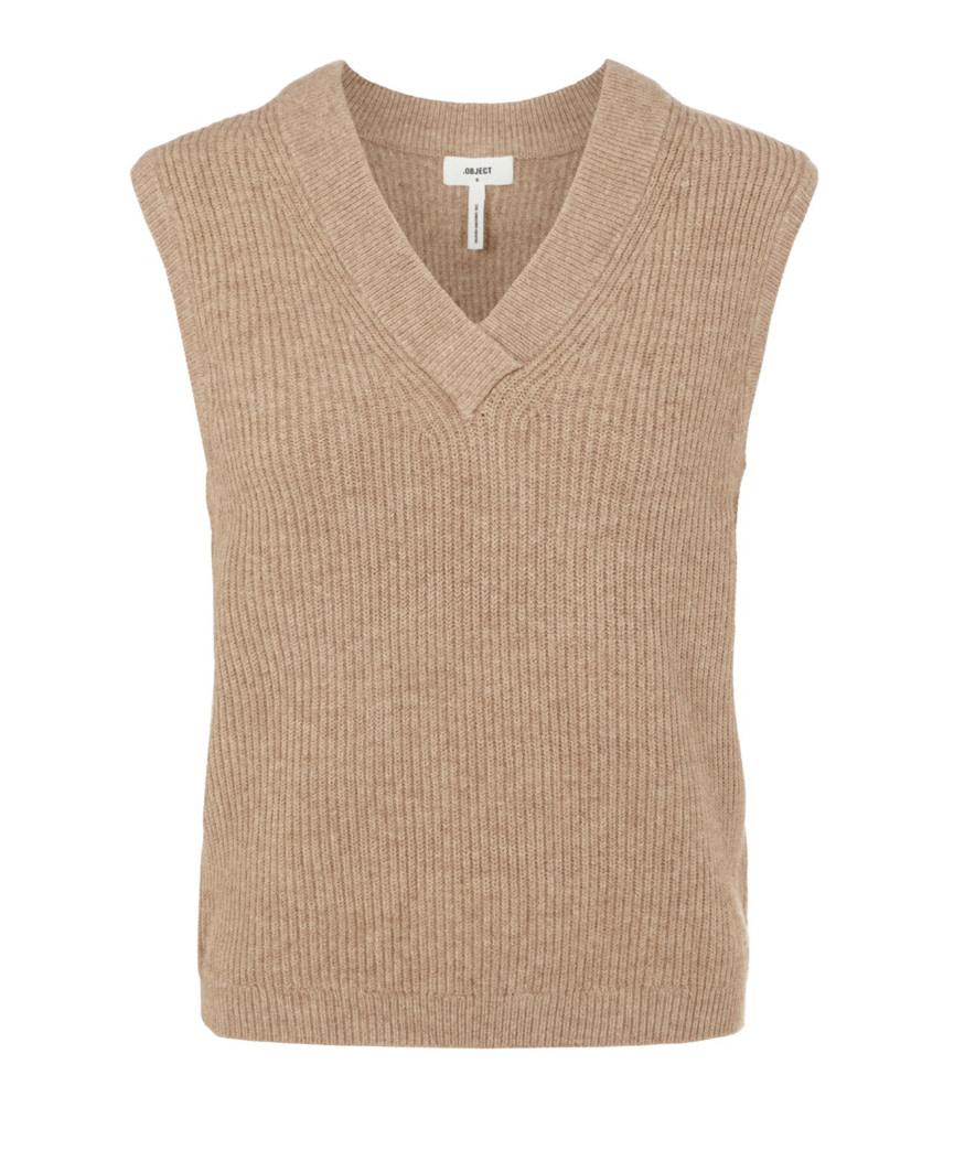 OBJECT OBJECT - objmalena s/l knit waistcoat noos - chipmunk