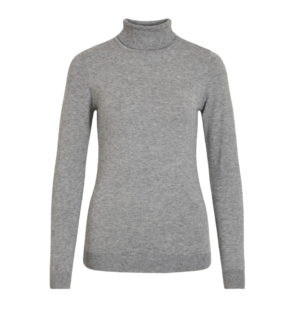 OBJECT OBJECT - objthess l/s rollneck knit pullover noos - medium grey melange