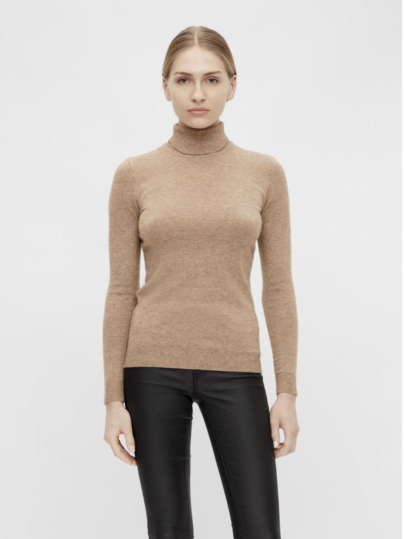 OBJECT OBJECT - objthess l/s rollneck knit pullover noos - chipmunk melange