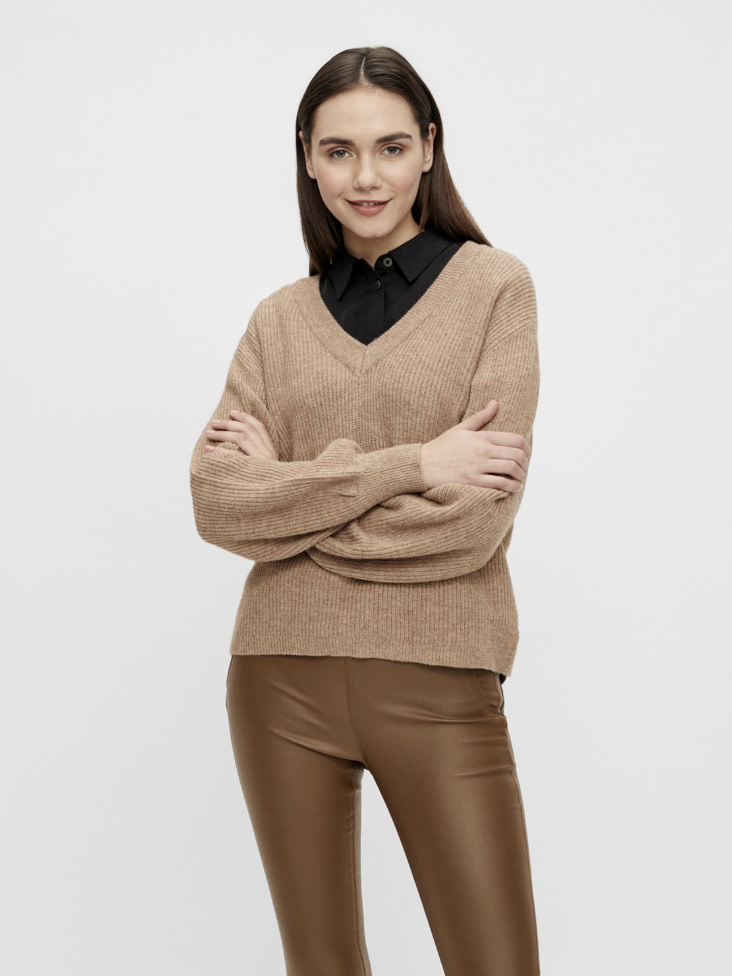 OBJECT OBJECT - objmalena l/s knit pullover noos - chipmunk melange
