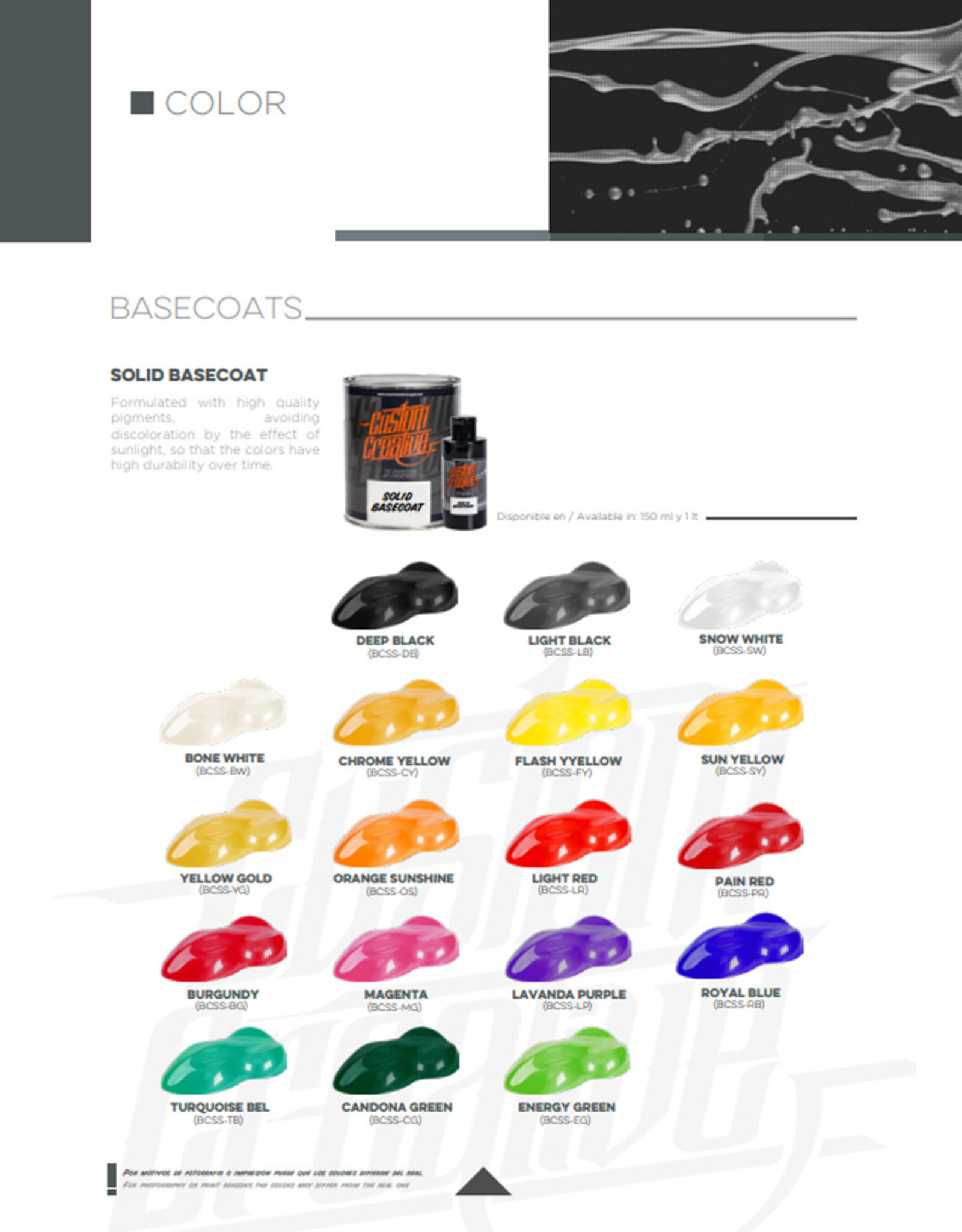 Custom Creative Custom Creative Base Color Solvente Solid - Orange Sunshin