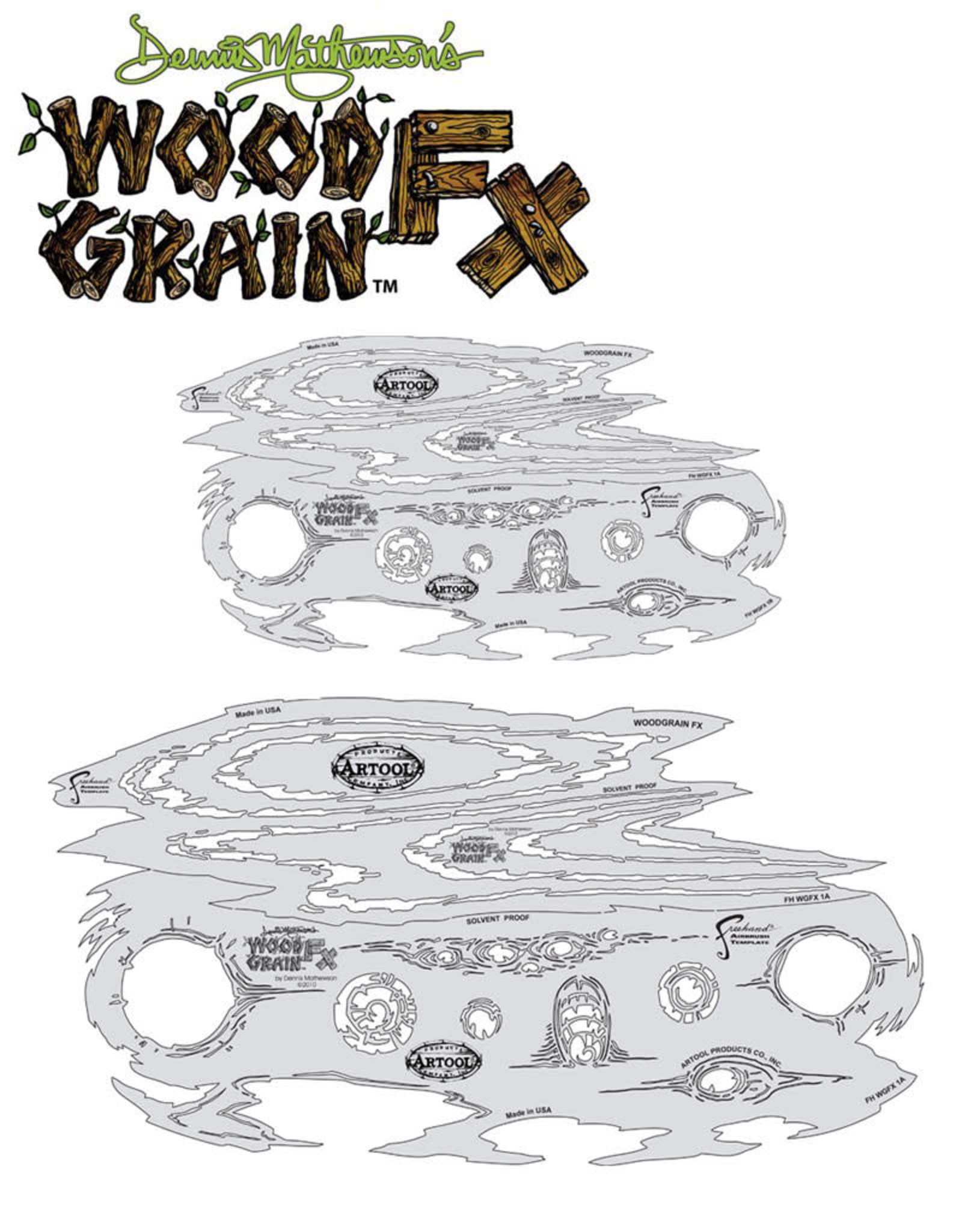 Artool Artool Wood Grain FX Freehand Airbrush Template Set by Dennis Mathewson