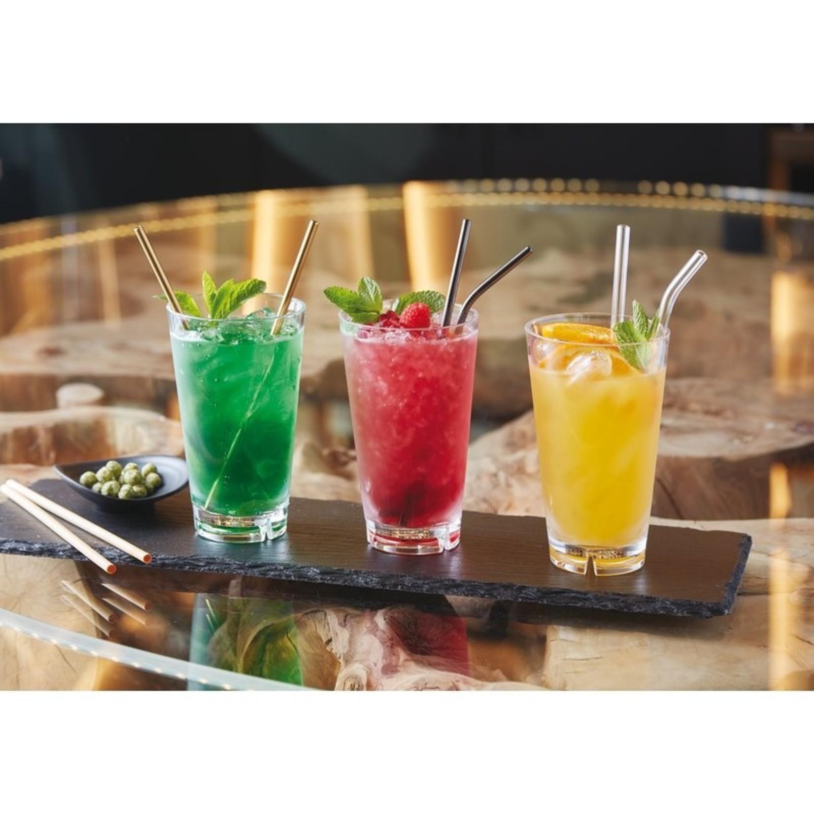 Drinkrietjes RVS- set van 12 met borstel - koper