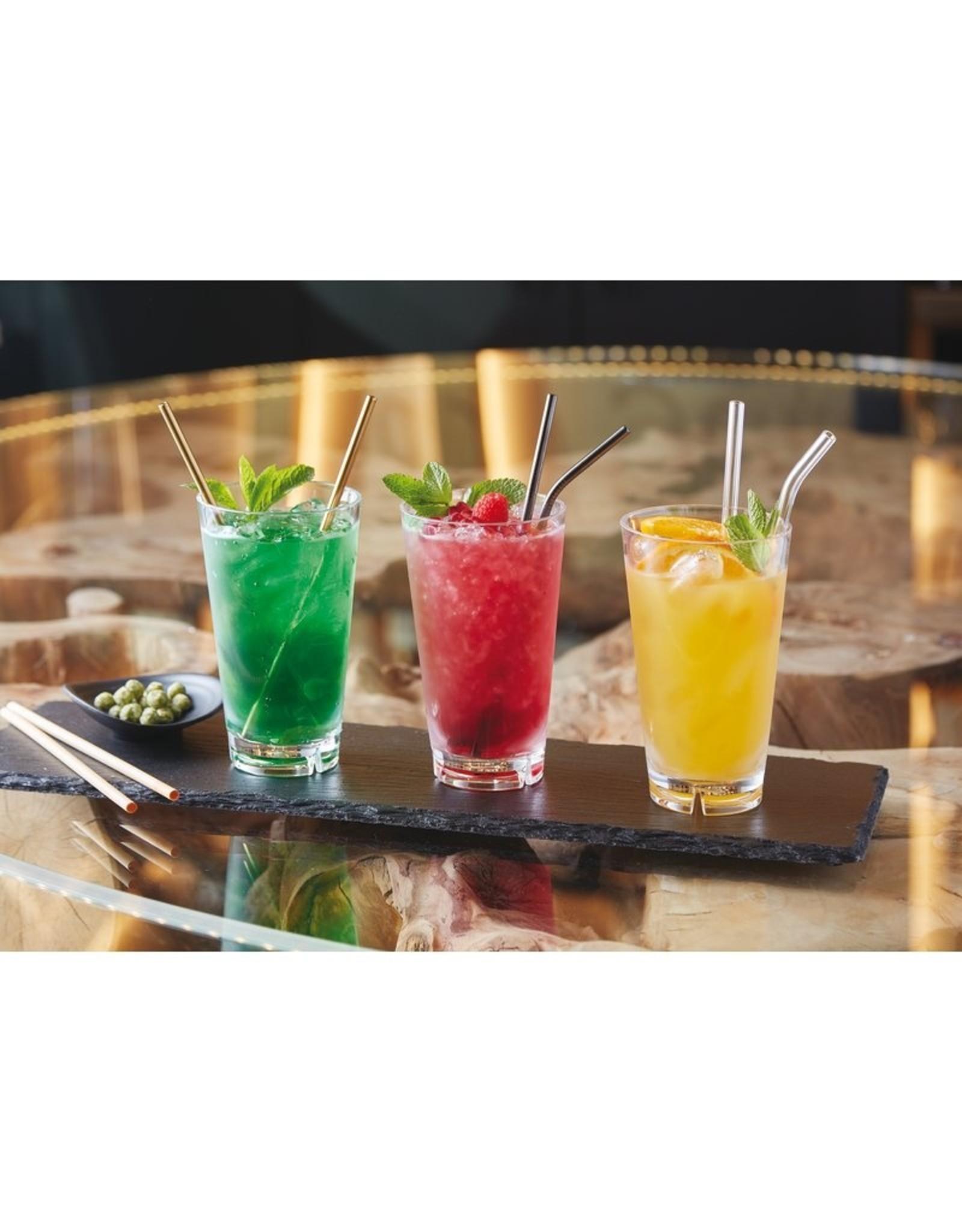 Drinkrietjes RVS- set van 12 met borstel -goud