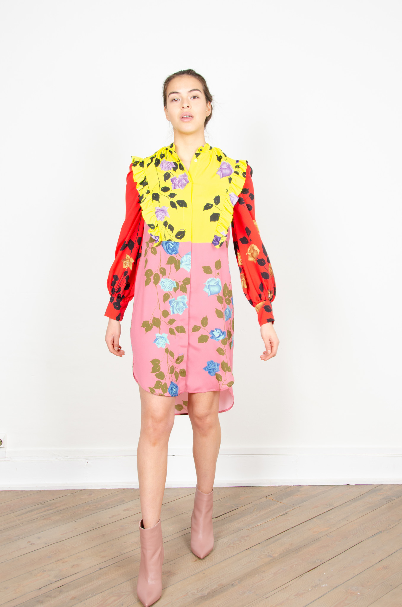 COLOUR BLOCK ROSE PRINT SHIRTDRESS-4