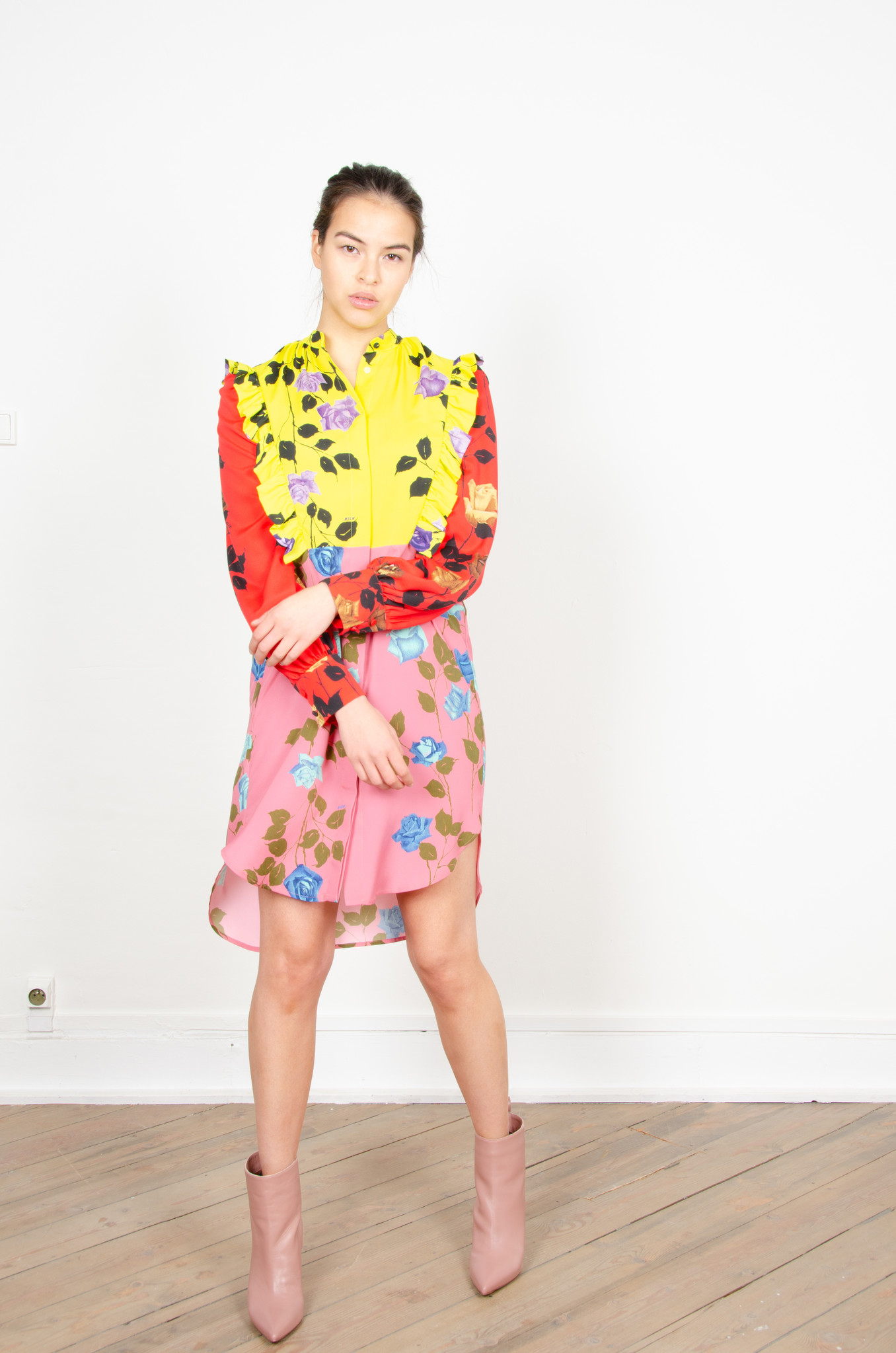 COLOUR BLOCK ROSE PRINT SHIRTDRESS-2