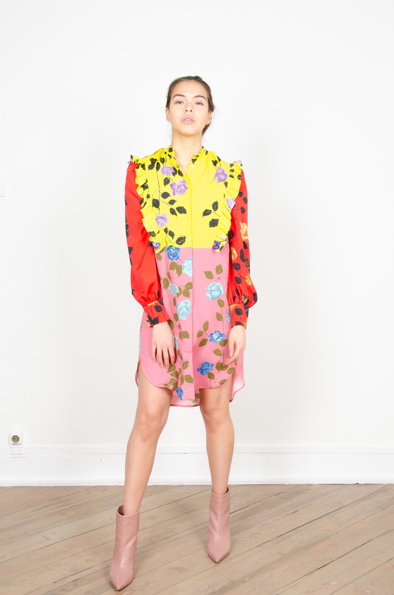 COLOUR BLOCK ROSE PRINT SHIRTDRESS-7