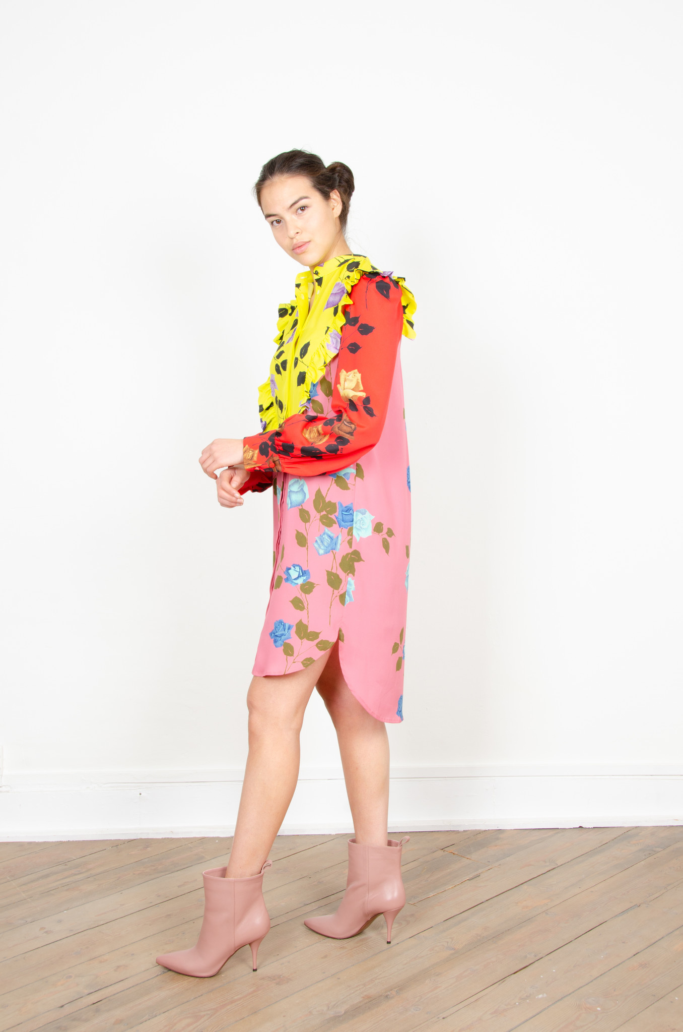 COLOUR BLOCK ROSE PRINT SHIRTDRESS-1