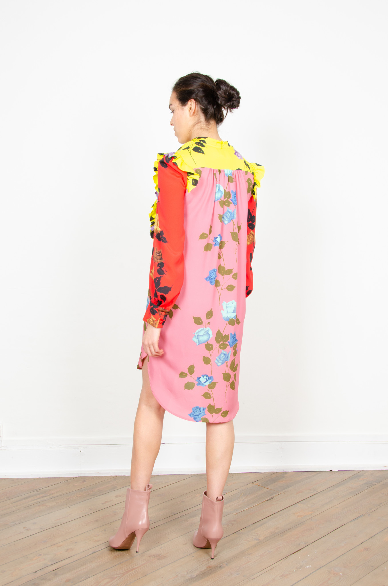 COLOUR BLOCK ROSE PRINT SHIRTDRESS-5