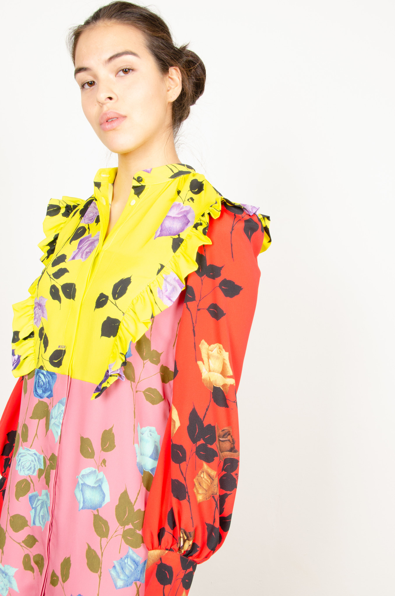 COLOUR BLOCK ROSE PRINT SHIRTDRESS-6