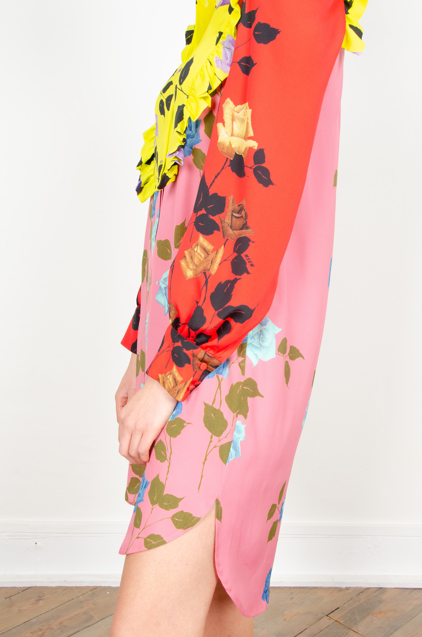 COLOUR BLOCK ROSE PRINT SHIRTDRESS-3