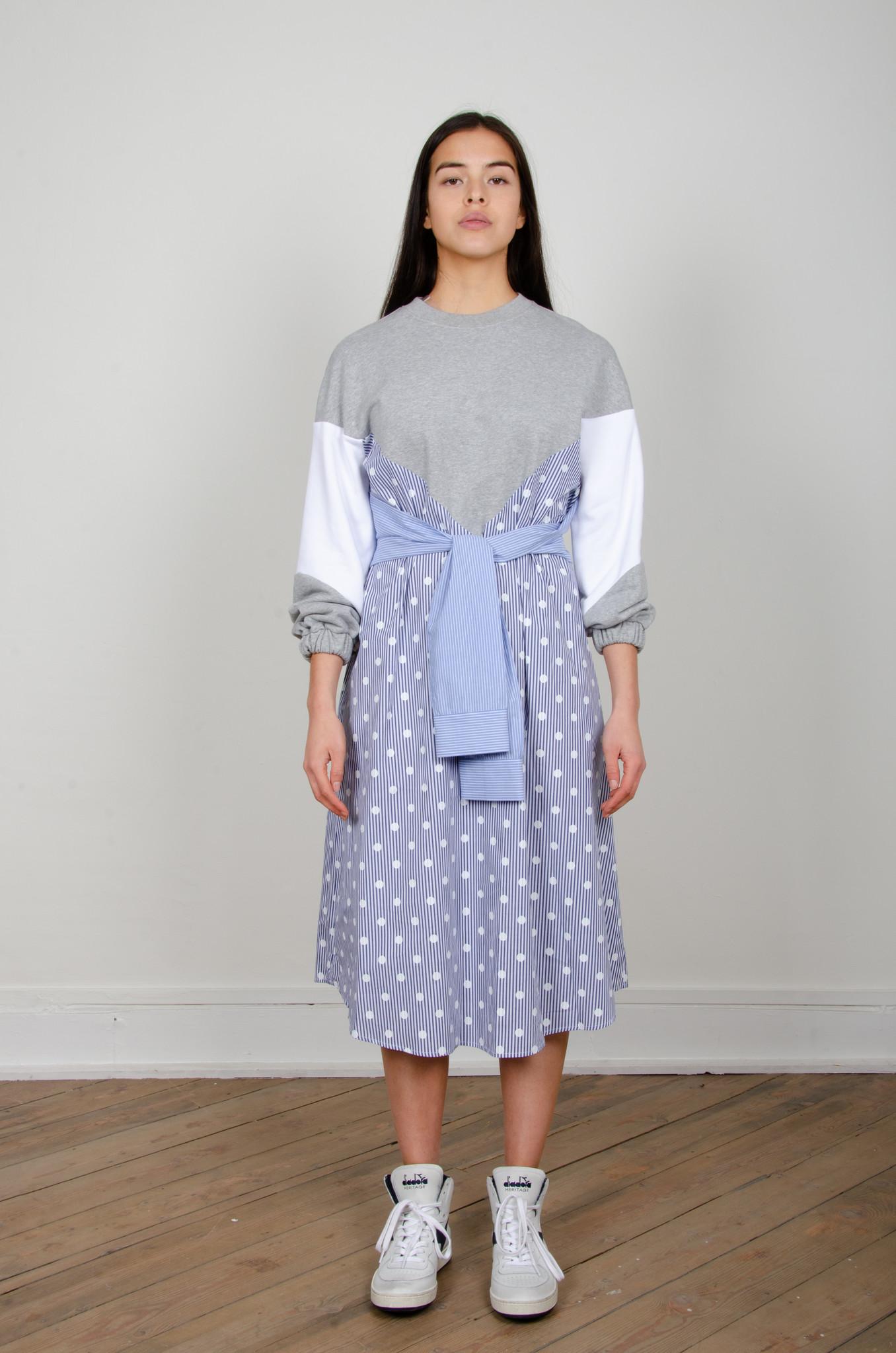 STRIPE MIXED JERSEY DRESS-1