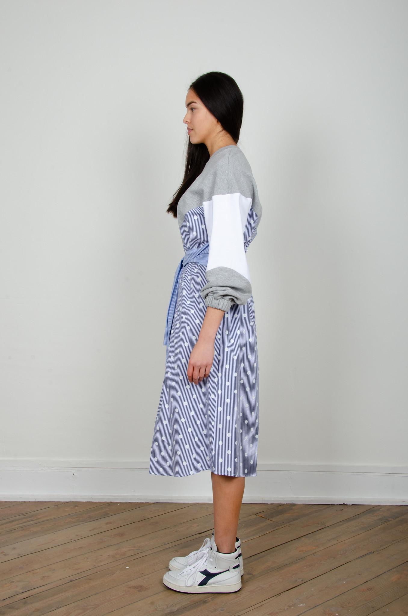 STRIPE MIXED JERSEY DRESS-2