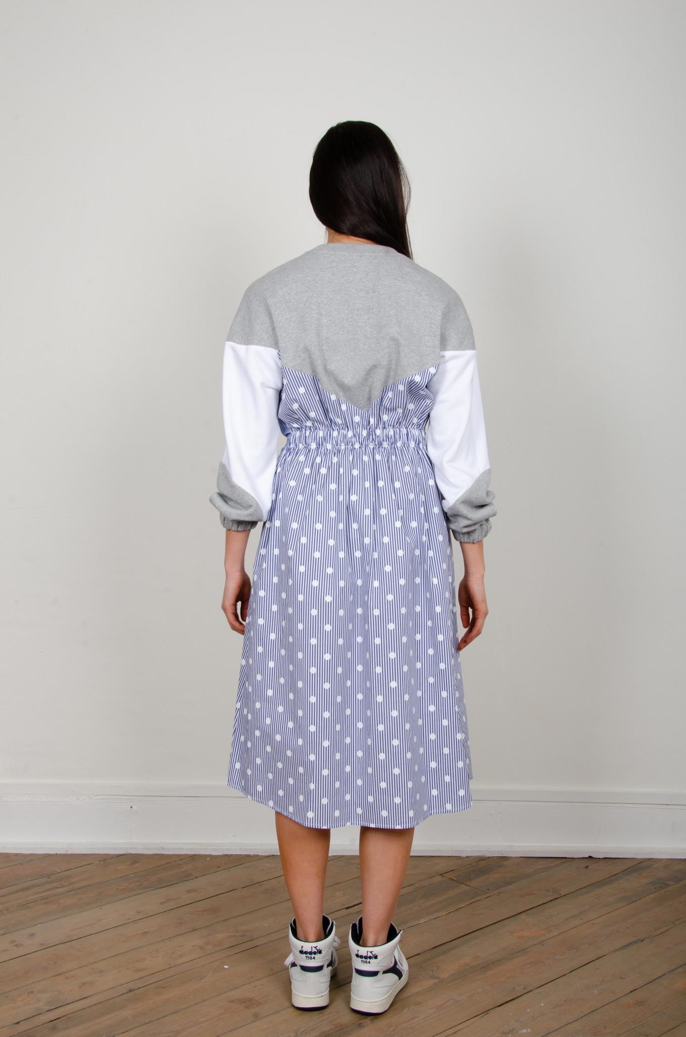 STRIPE MIXED JERSEY DRESS-4