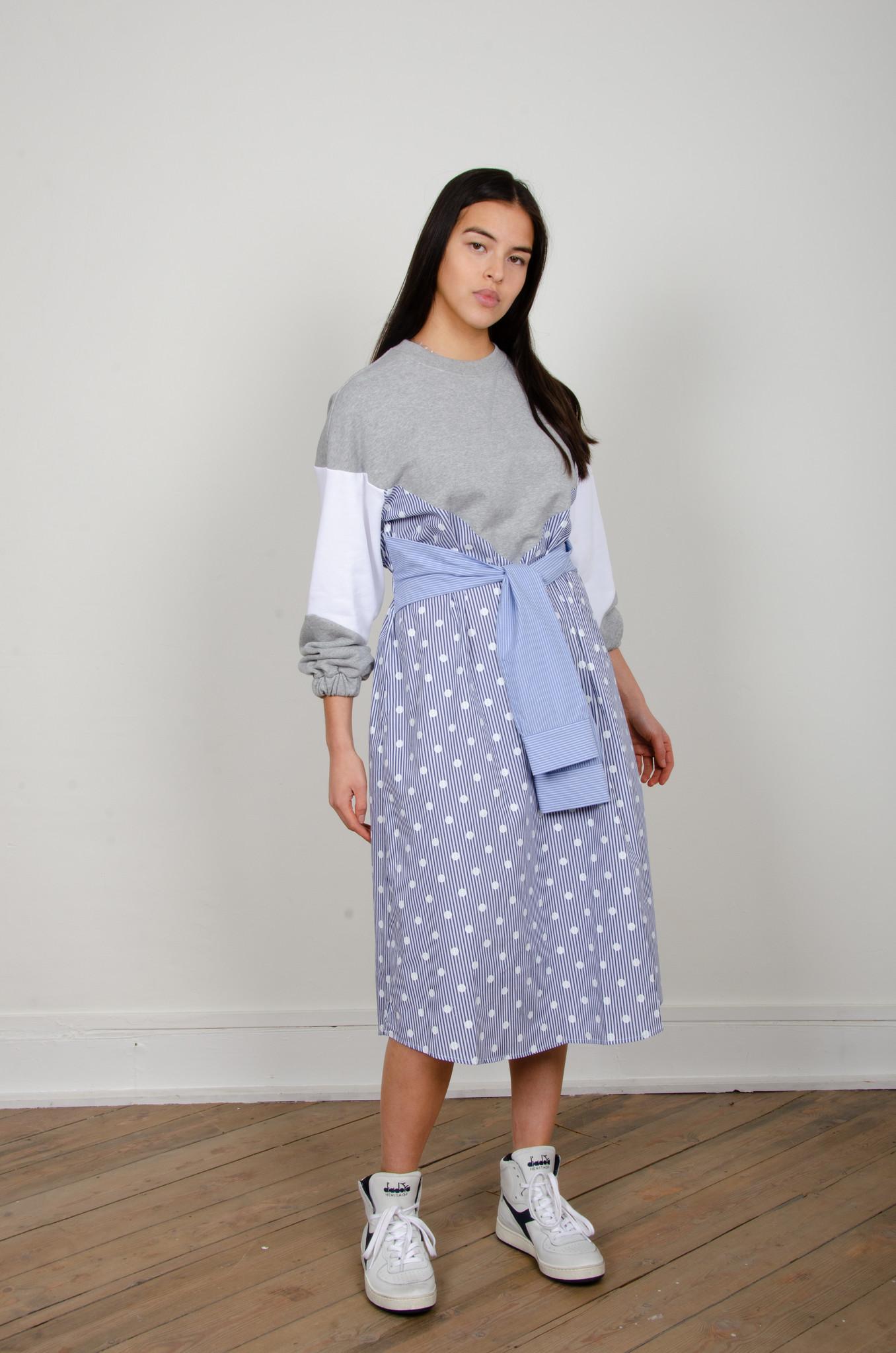 STRIPE MIXED JERSEY DRESS-5