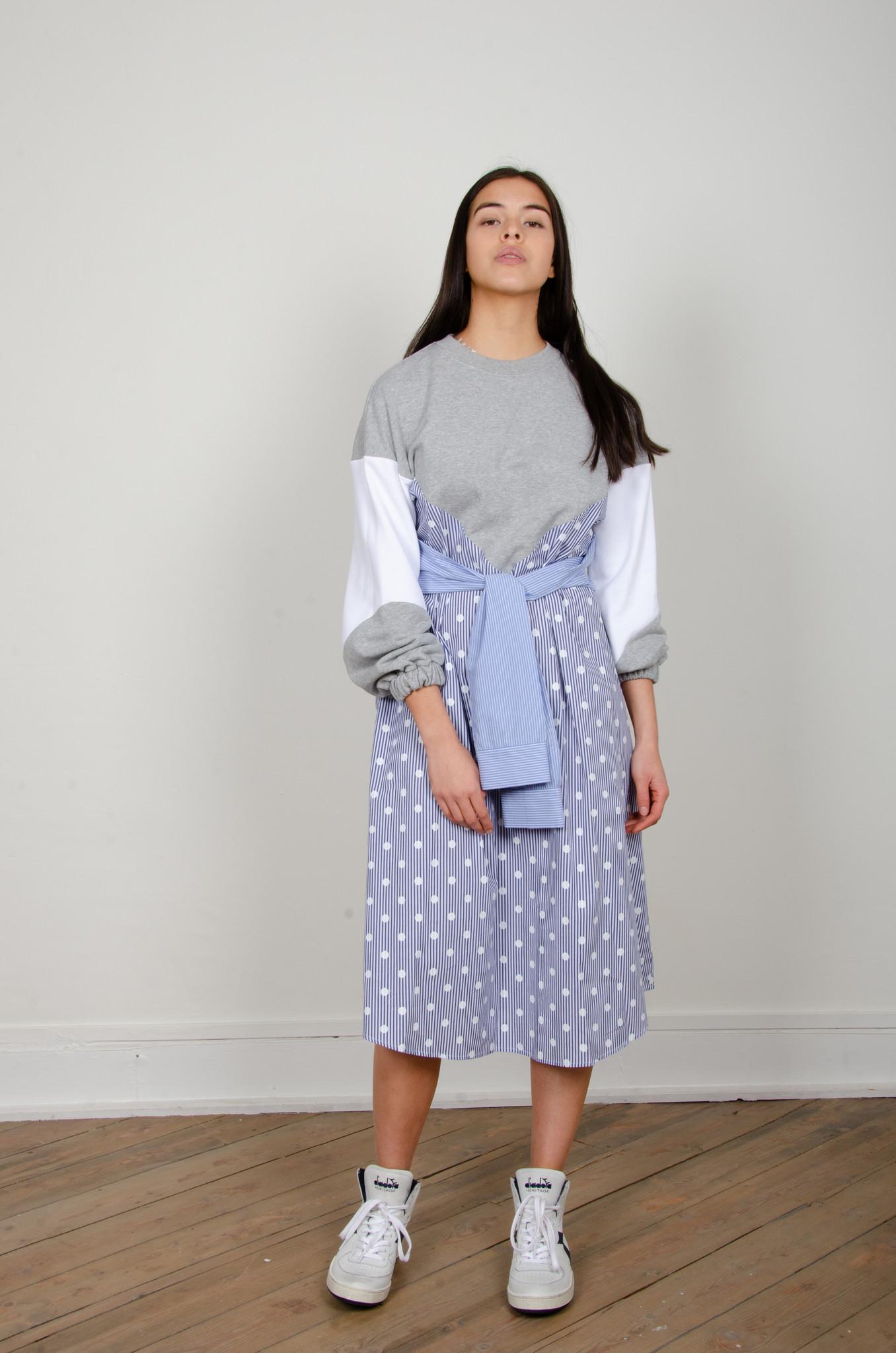 STRIPE MIXED JERSEY DRESS-6