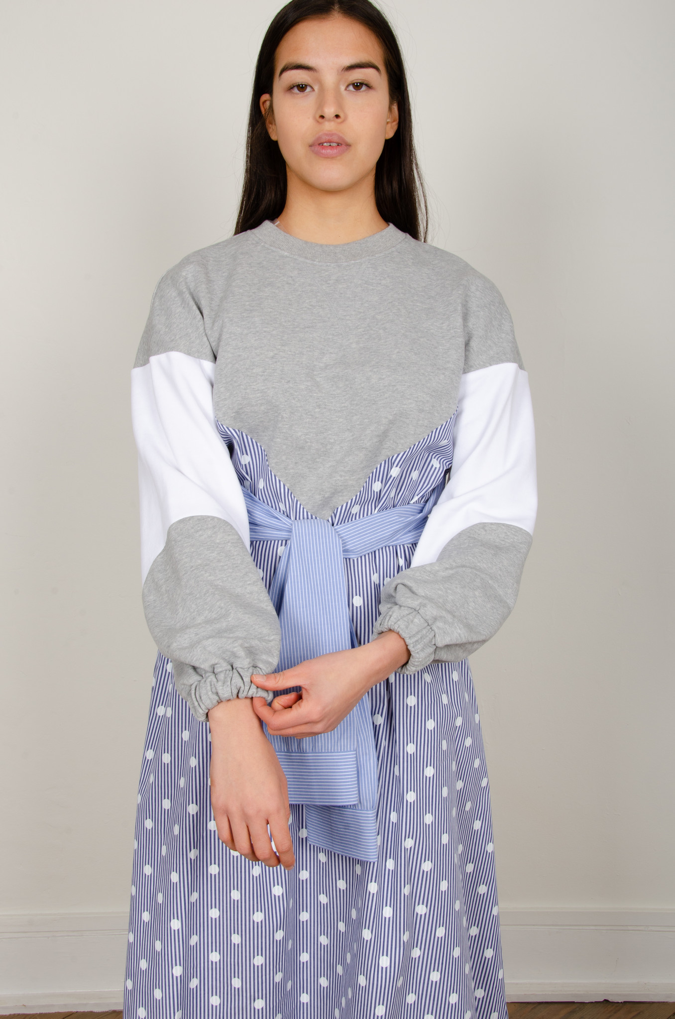 STRIPE MIXED JERSEY DRESS-7