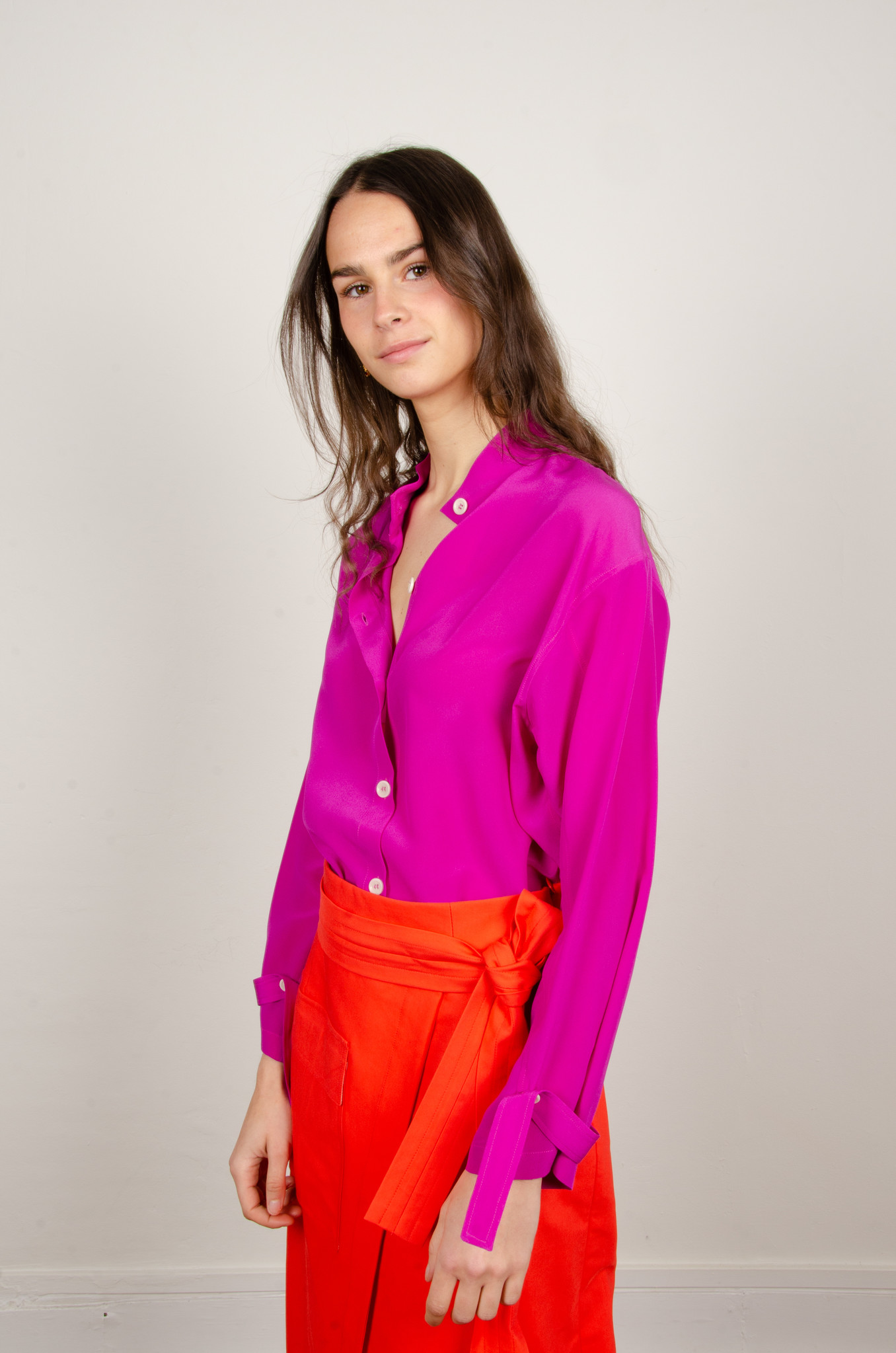 BUTTONED SILK BLOUSE MAGENTA-1