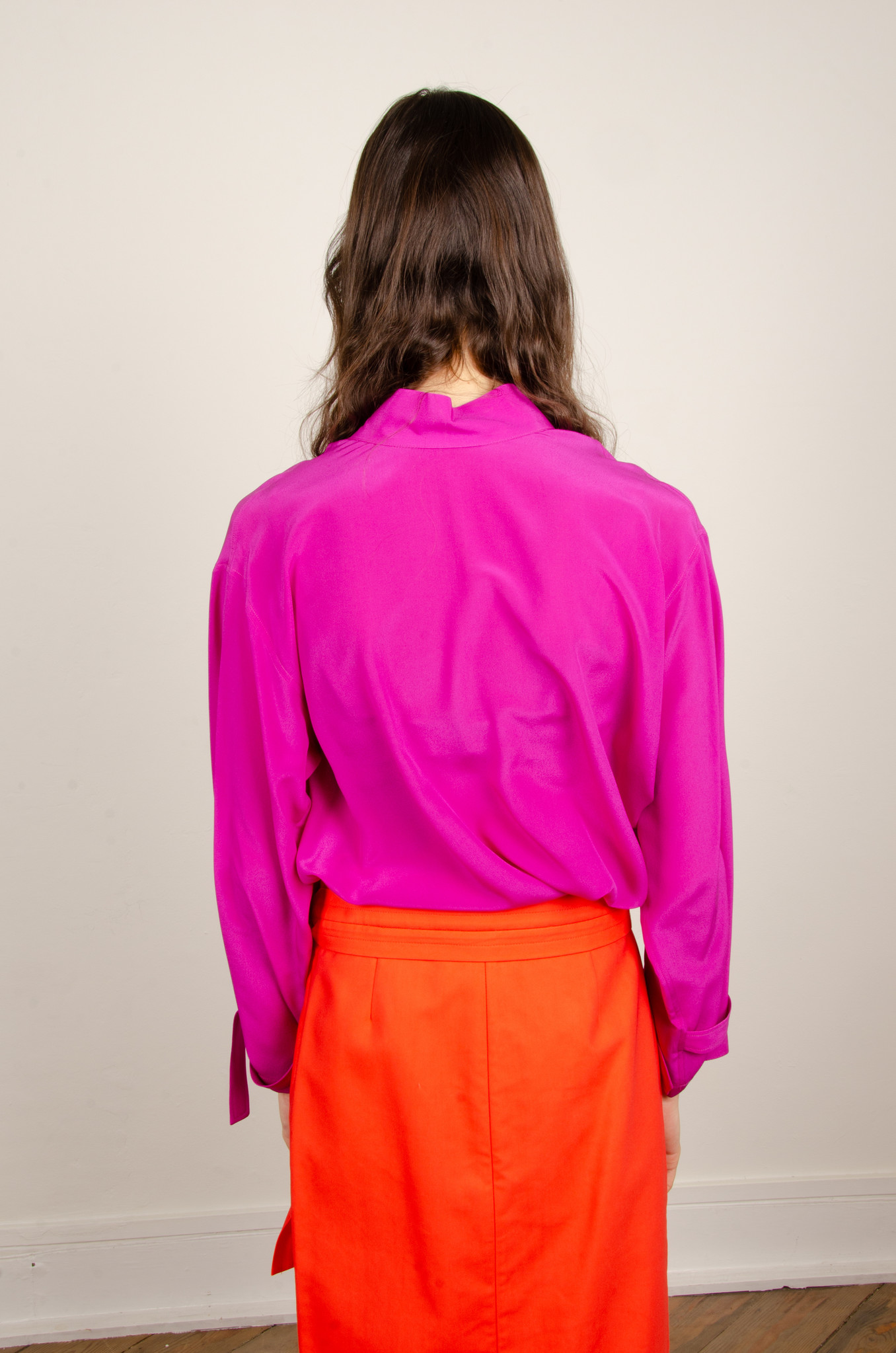 BUTTONED SILK BLOUSE MAGENTA-3