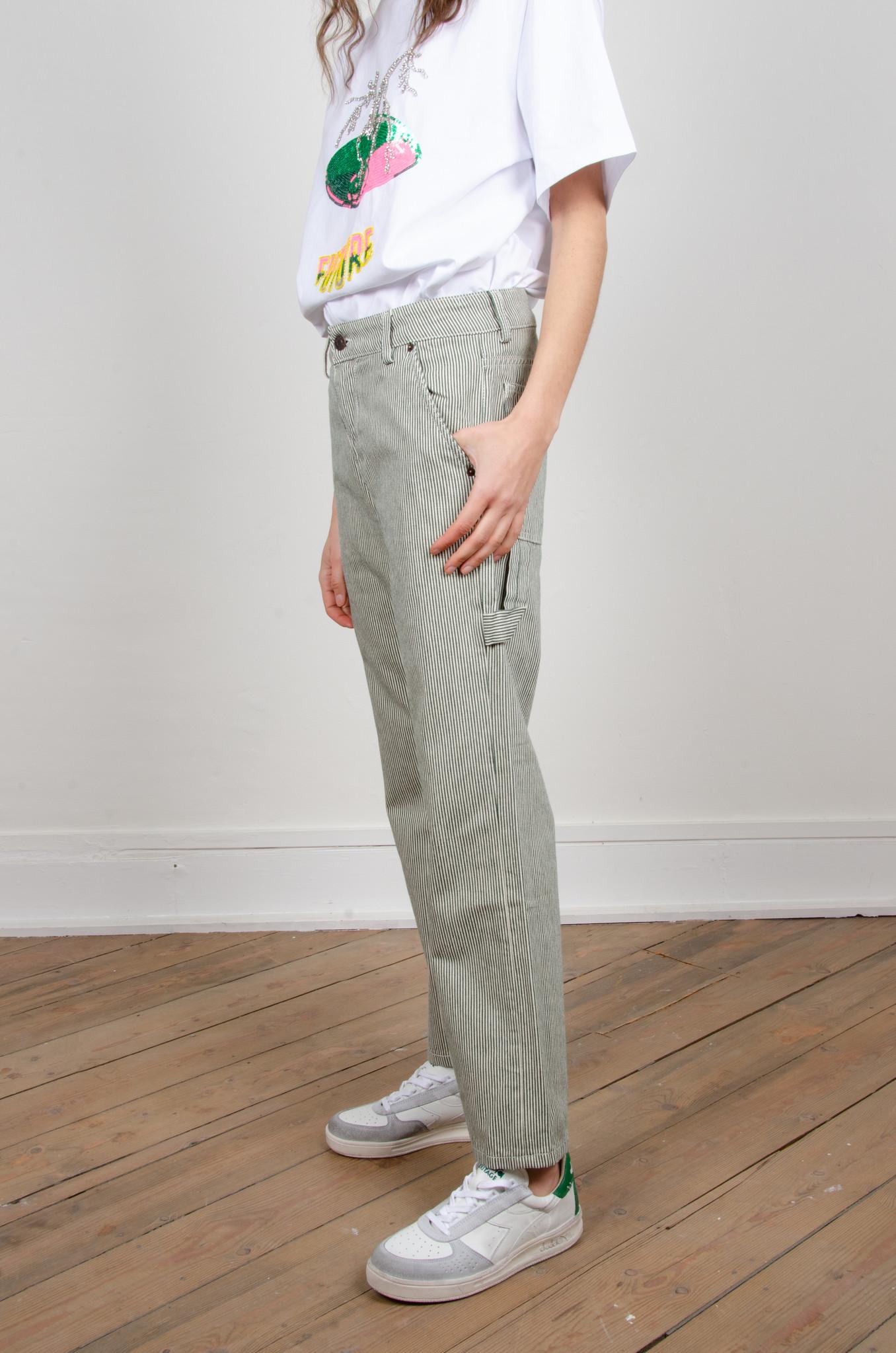GREEN STRIPE CARPENTER PANTS-2