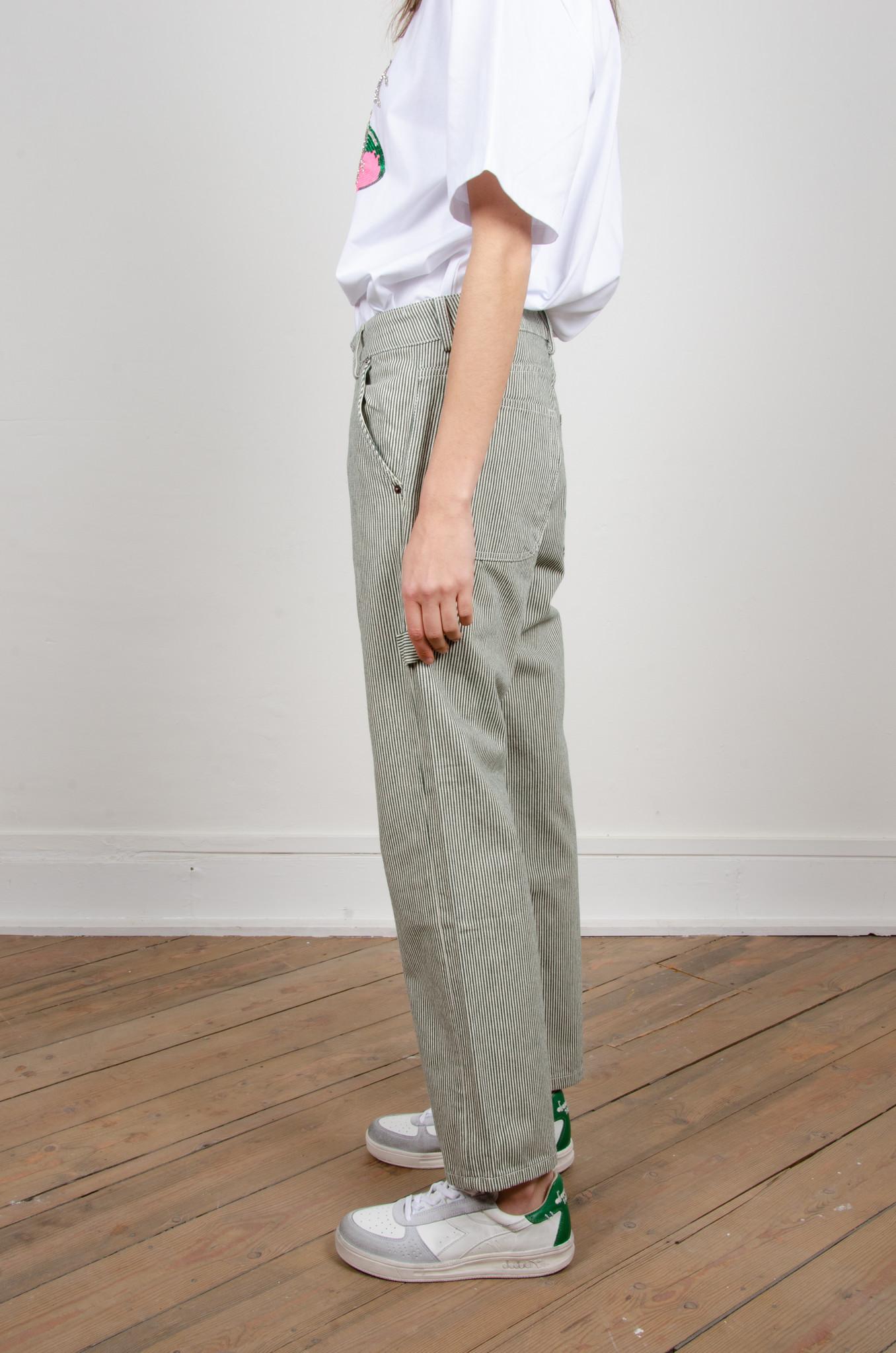 GREEN STRIPE CARPENTER PANTS-3