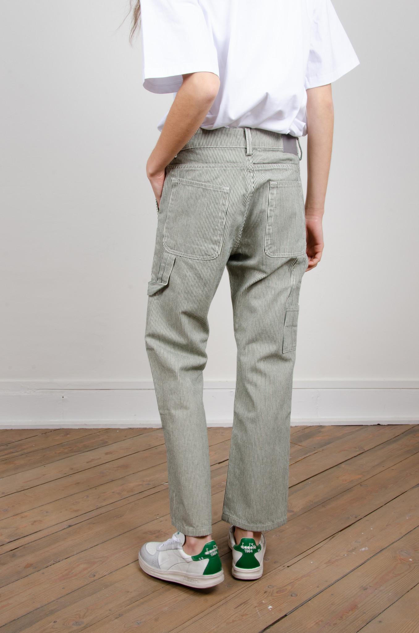 GREEN STRIPE CARPENTER PANTS-4