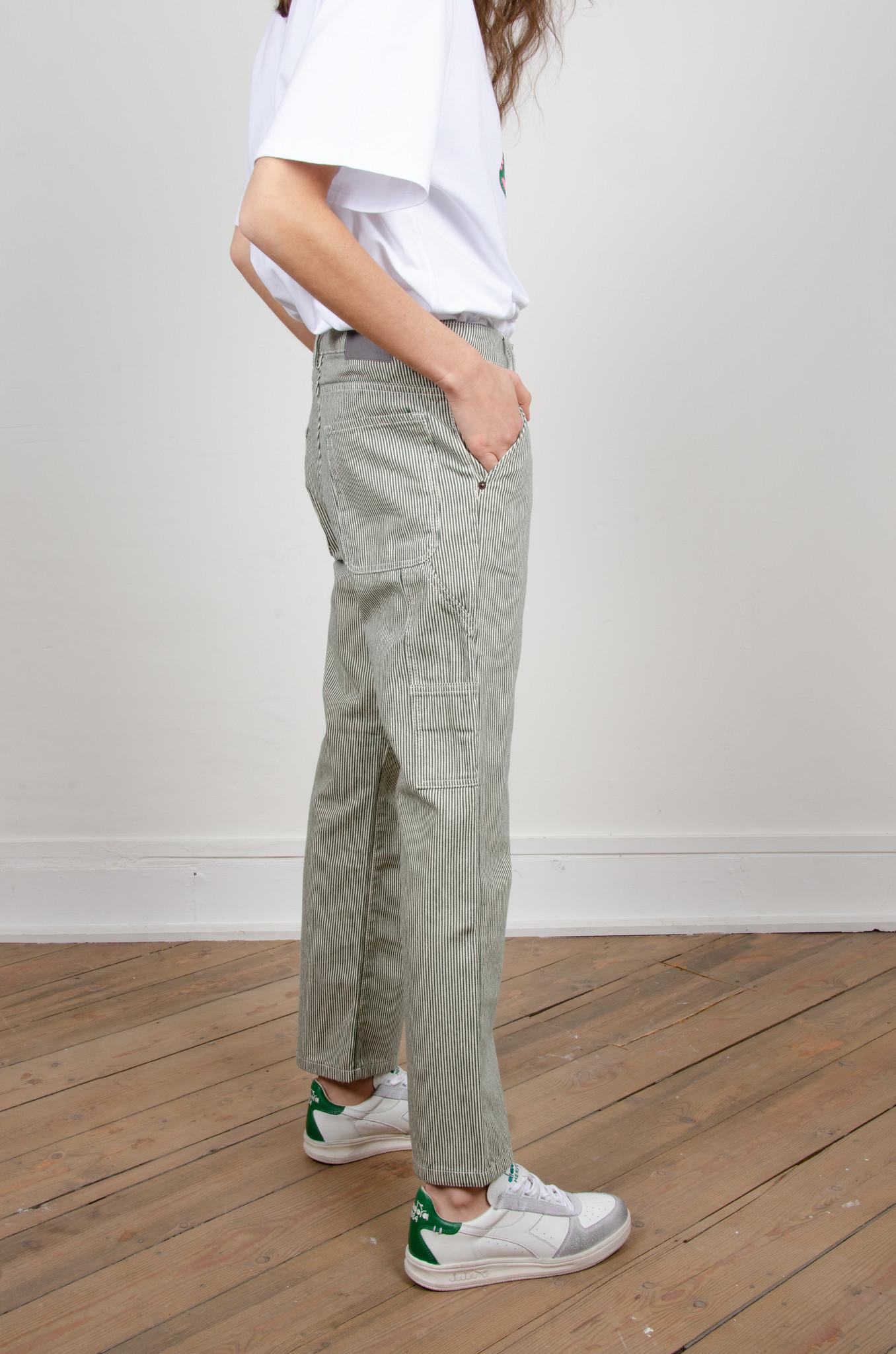 GREEN STRIPE CARPENTER PANTS-5
