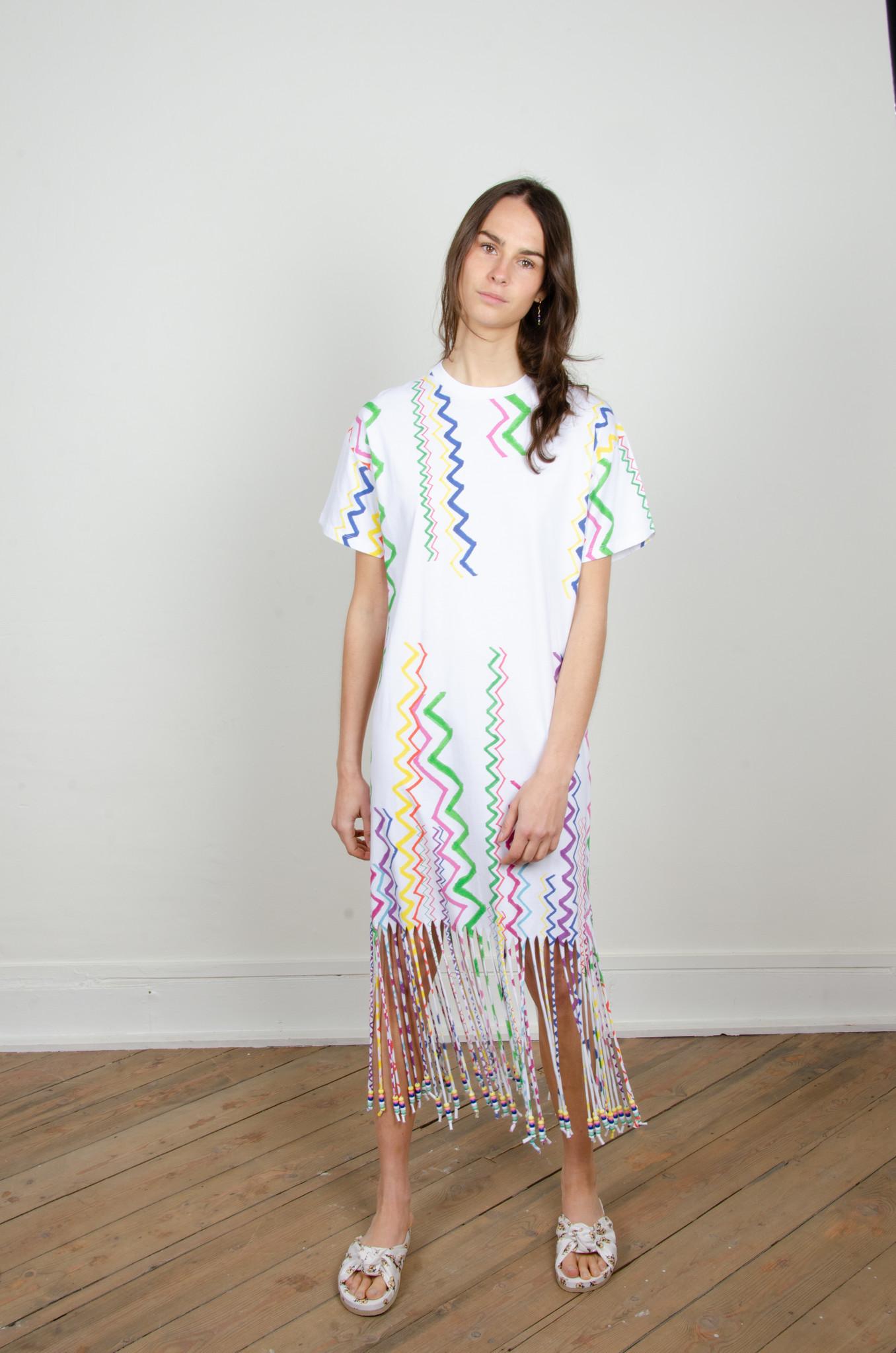 ZIGZAG BEADED FRINGE T SHIRT DRESS-1