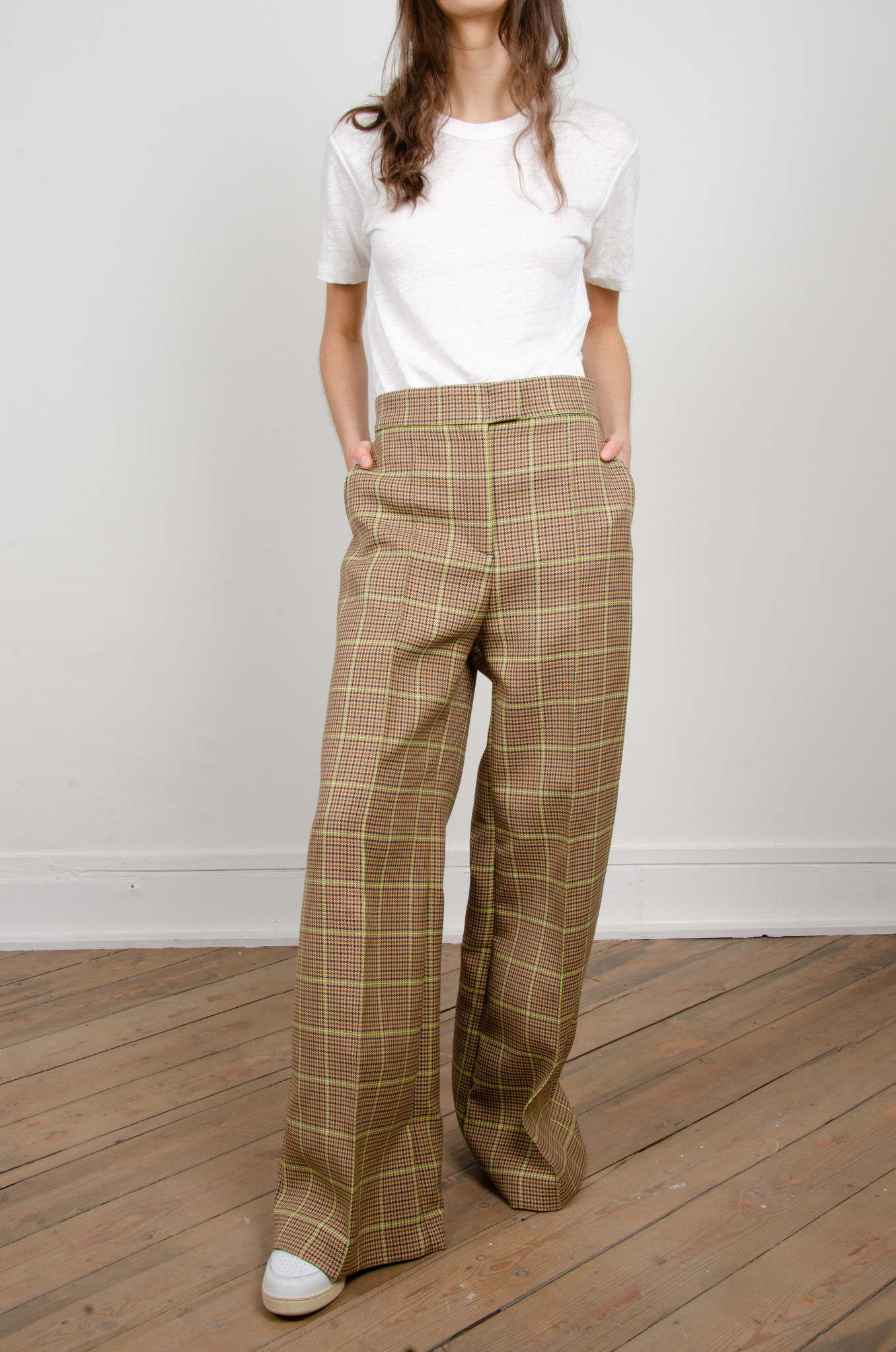 WIDE NEON CHECKERED TROUSERS-1