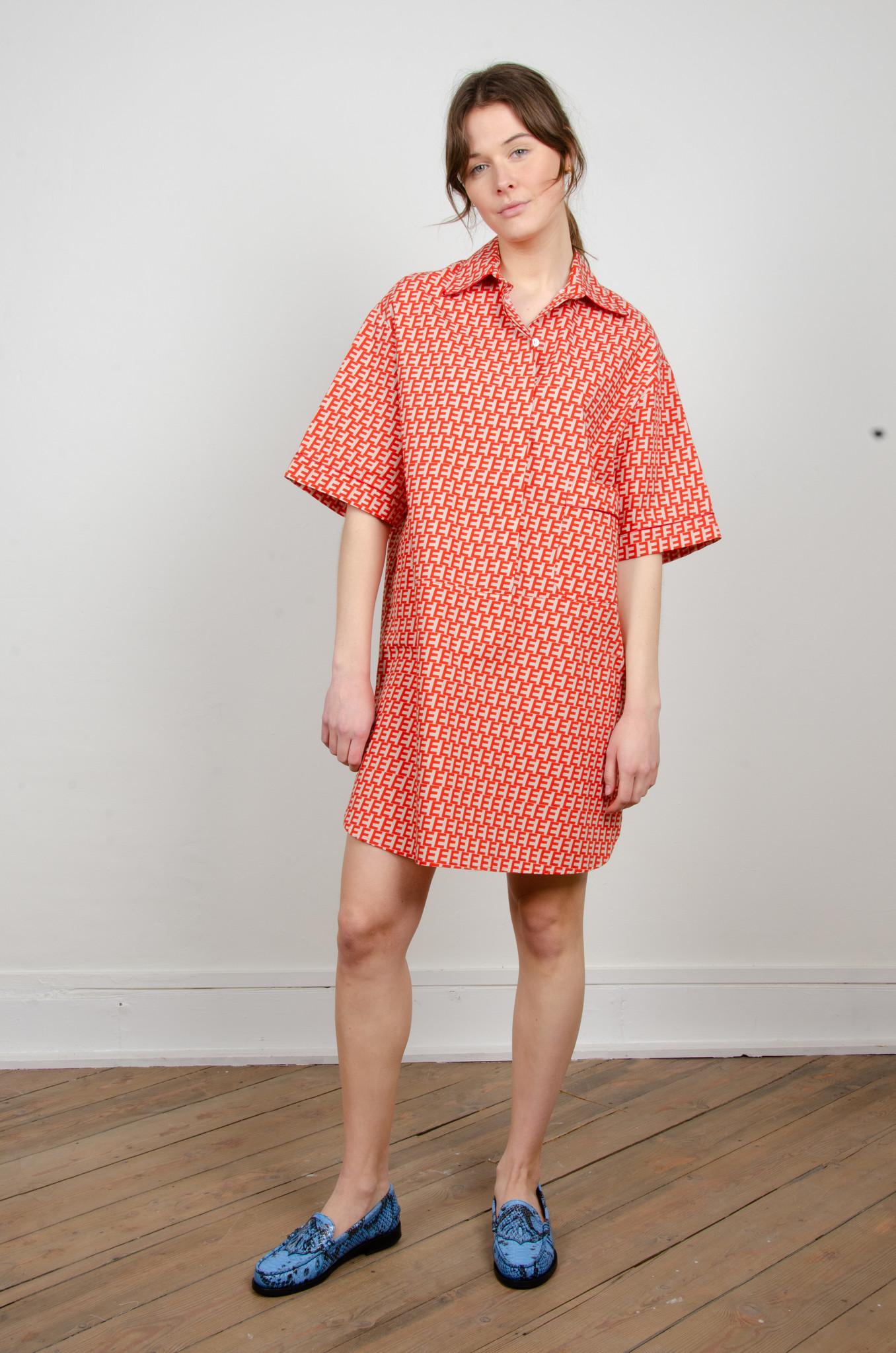 PRINTED SHORT SHIRT DRESS-1