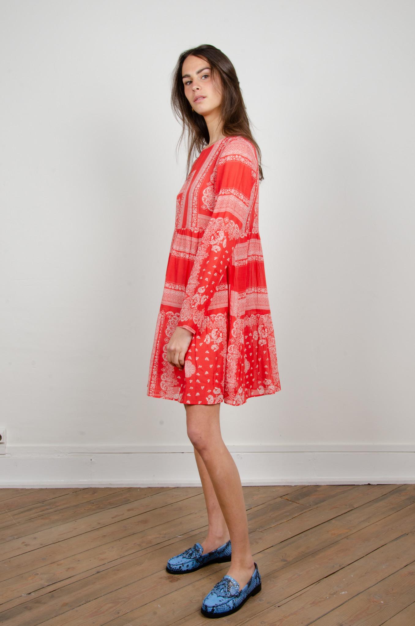 PAISLEY SHORT DRESS RED-2