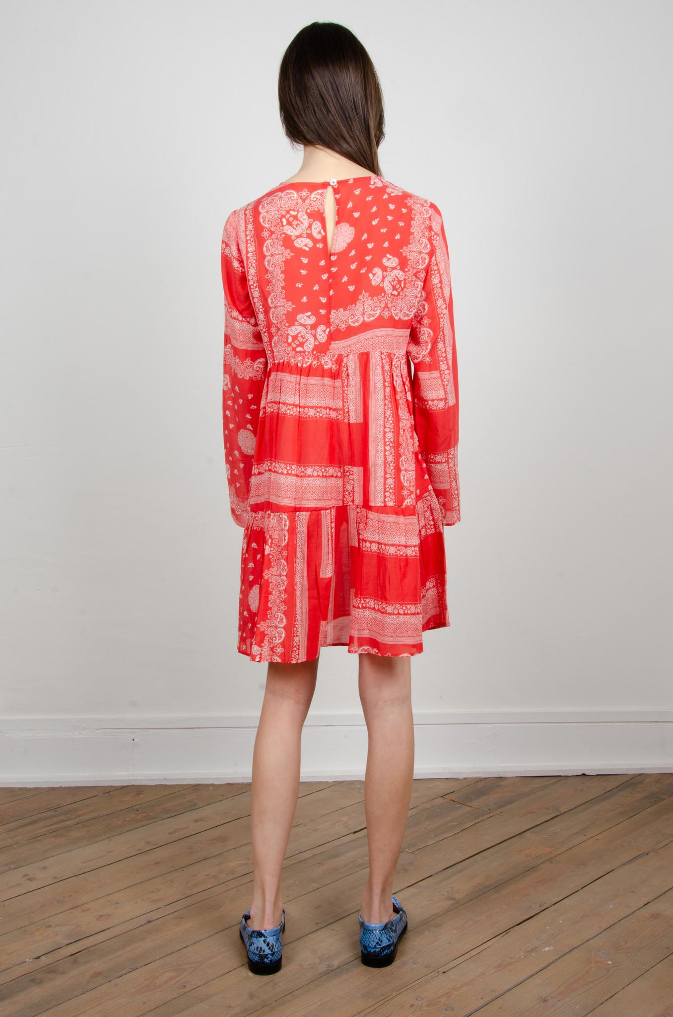 PAISLEY SHORT DRESS RED-3