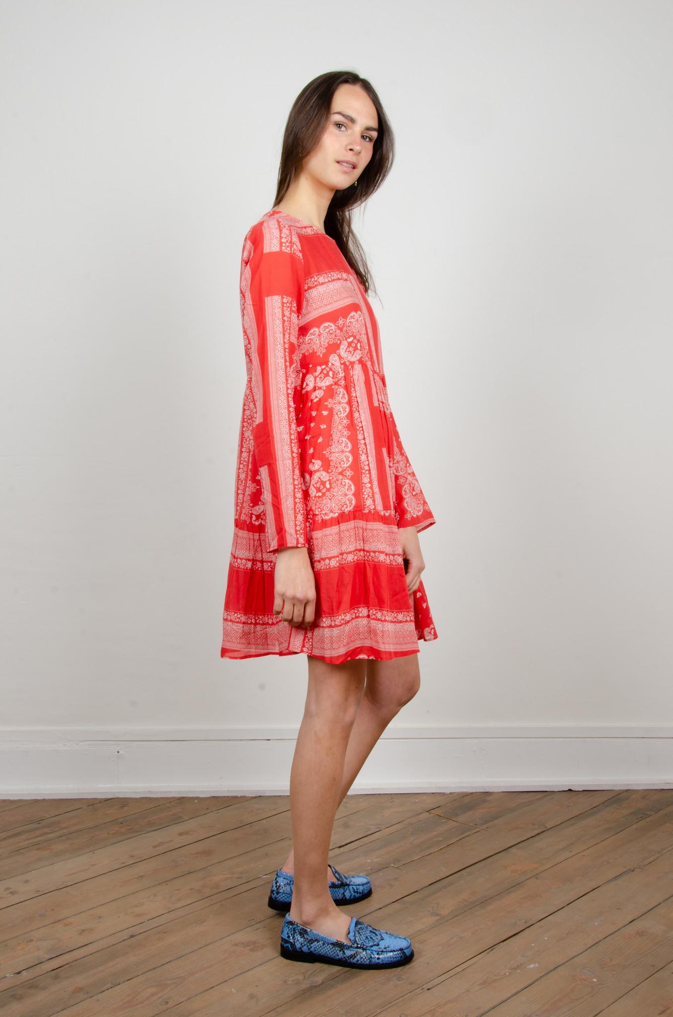 PAISLEY SHORT DRESS RED-4