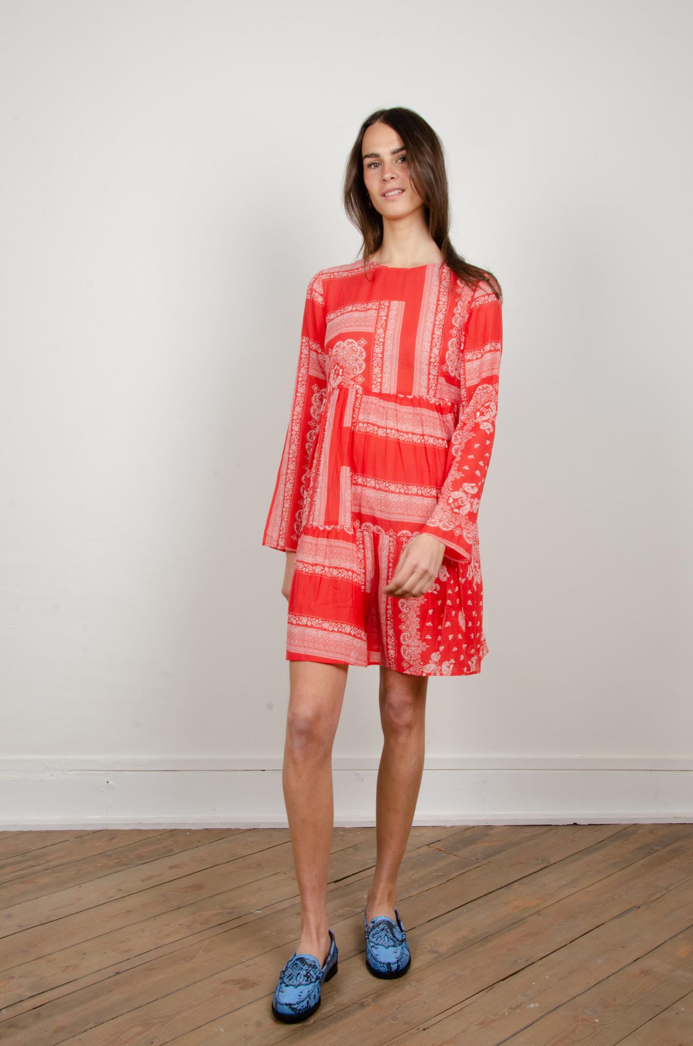 PAISLEY SHORT DRESS RED-1
