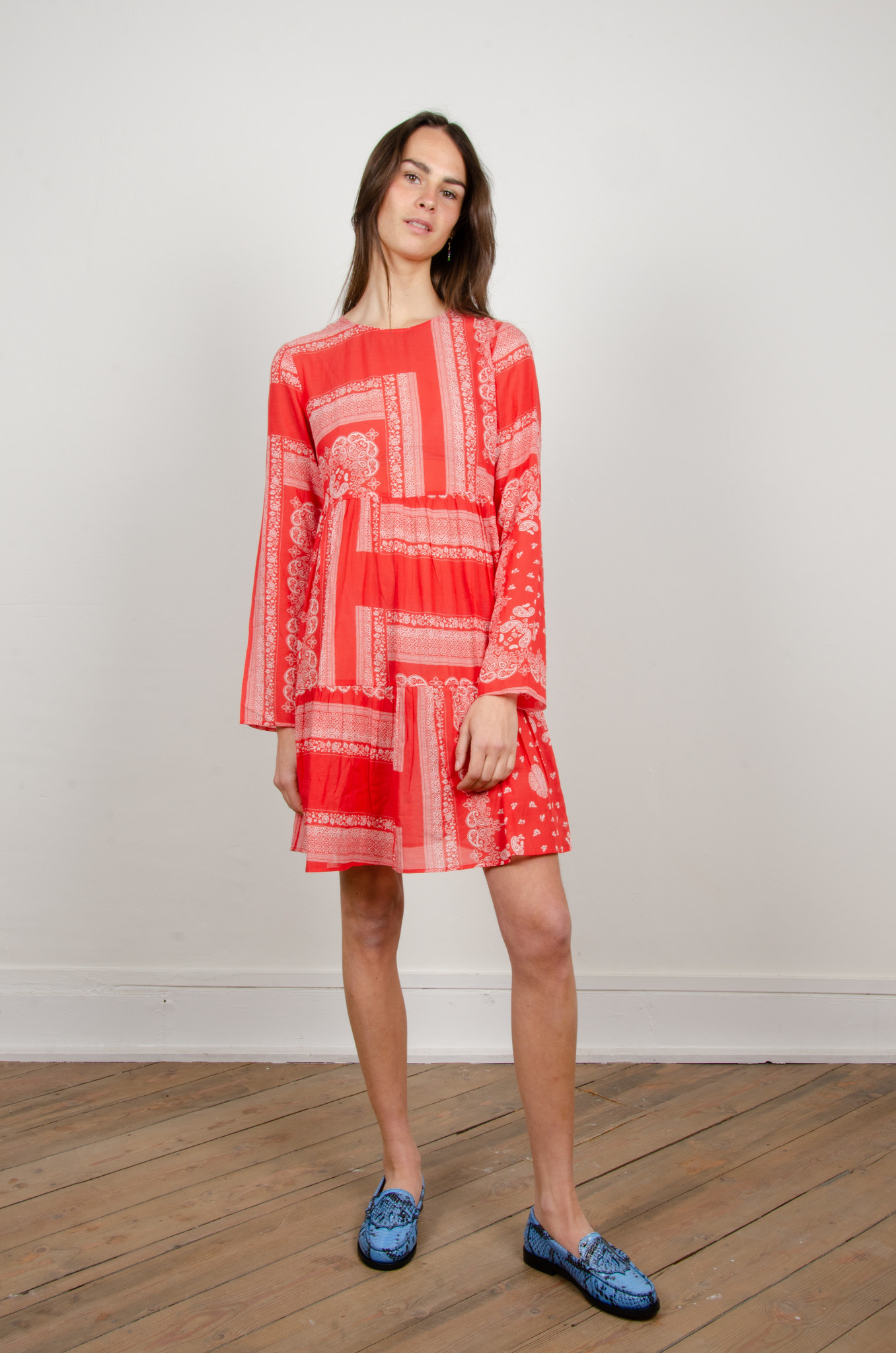 PAISLEY SHORT DRESS RED-5