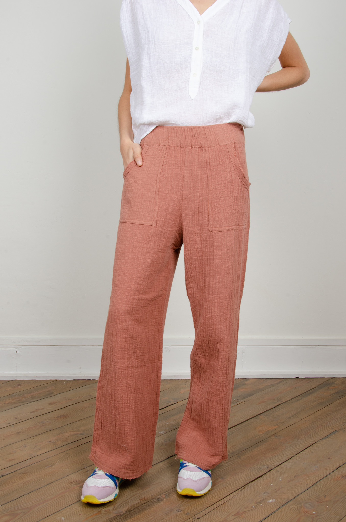 BAMBOO TROUSERS DARK OLD ROSE-1
