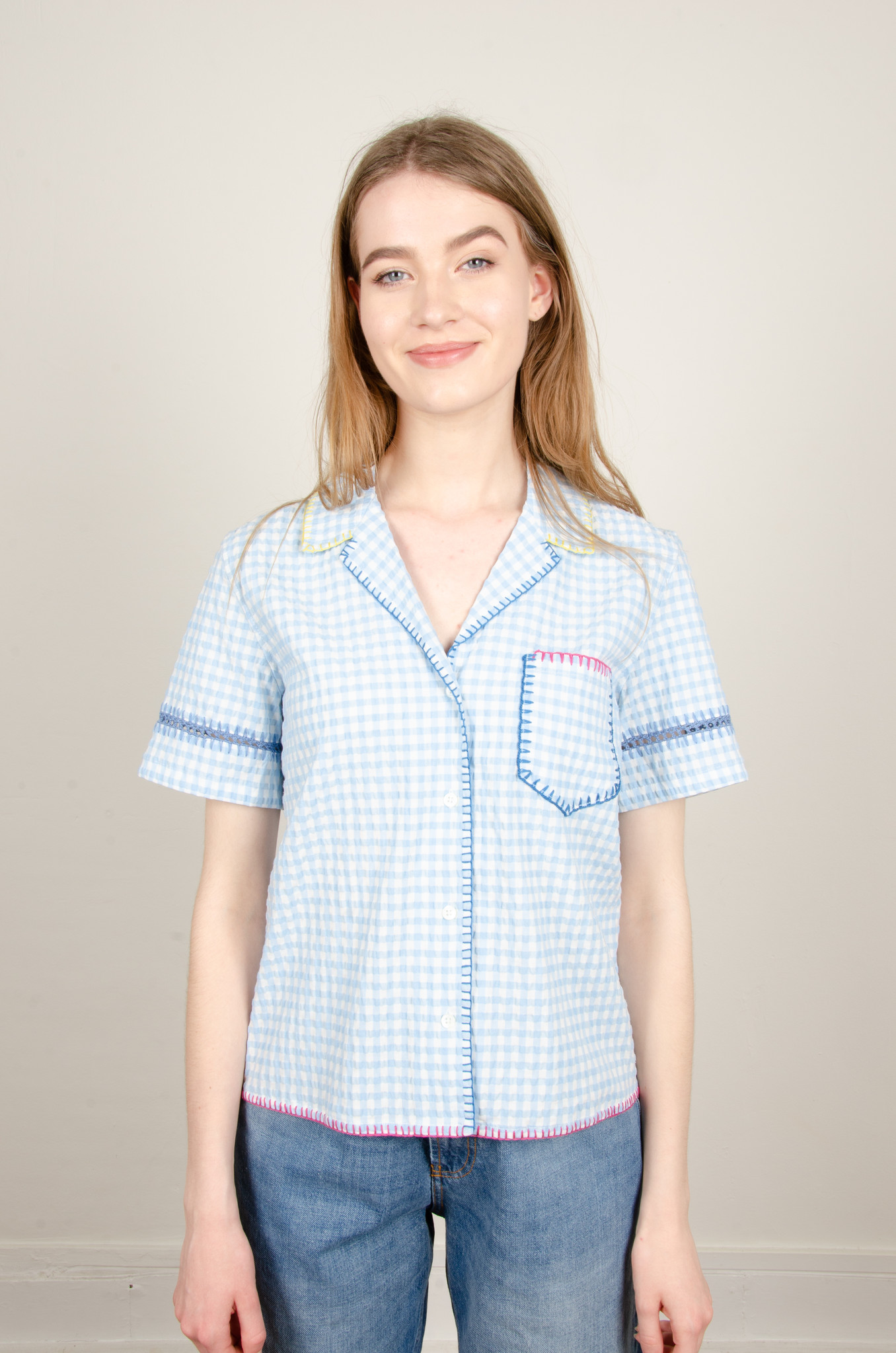 GINGHAM YARN EMBROIDERED SHIRT-1
