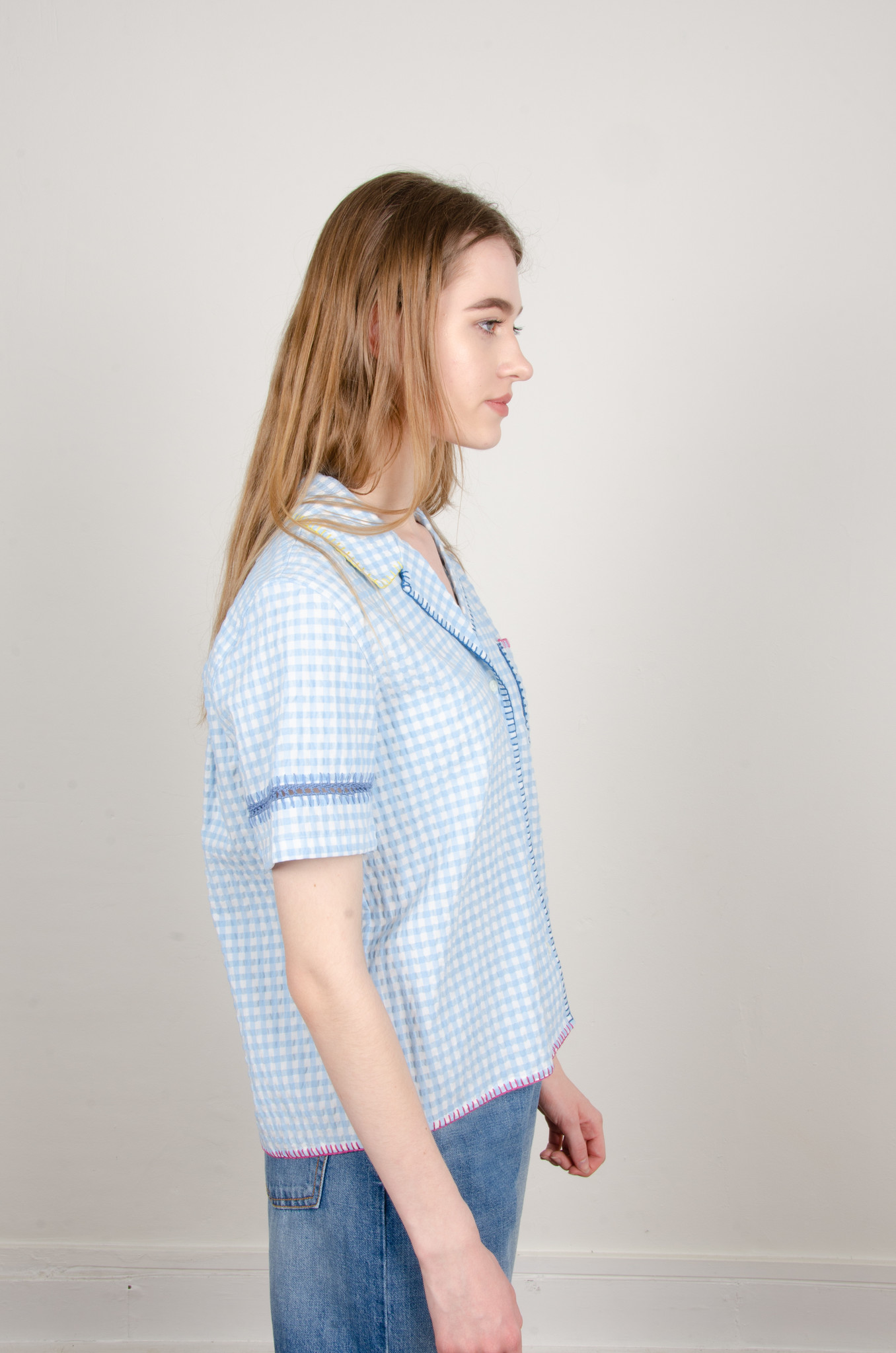 GINGHAM YARN EMBROIDERED SHIRT-4
