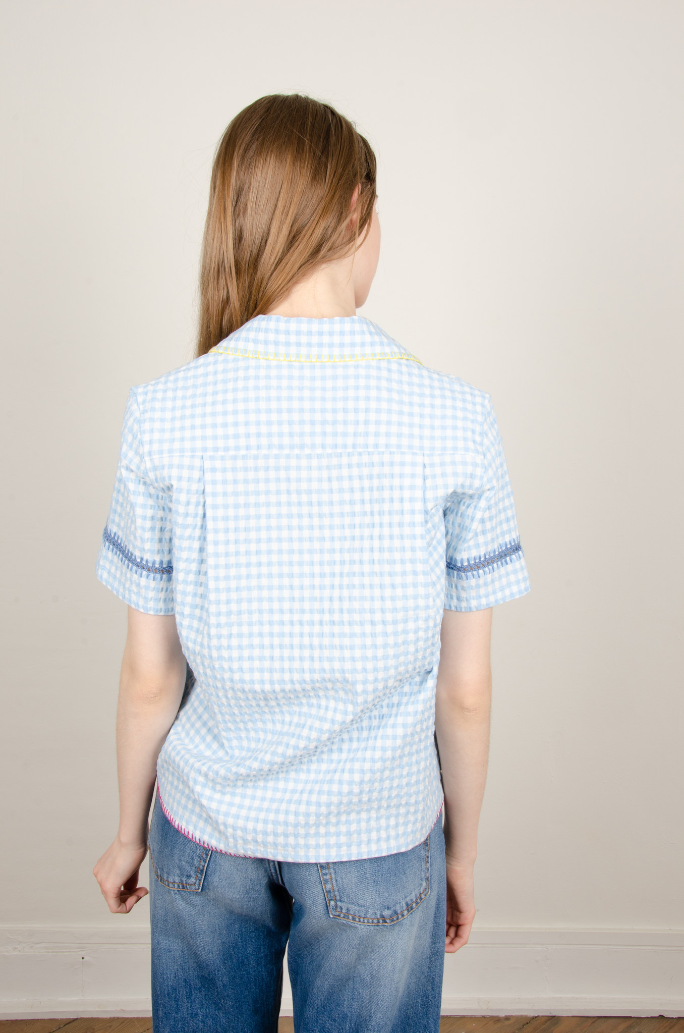 GINGHAM YARN EMBROIDERED SHIRT-3