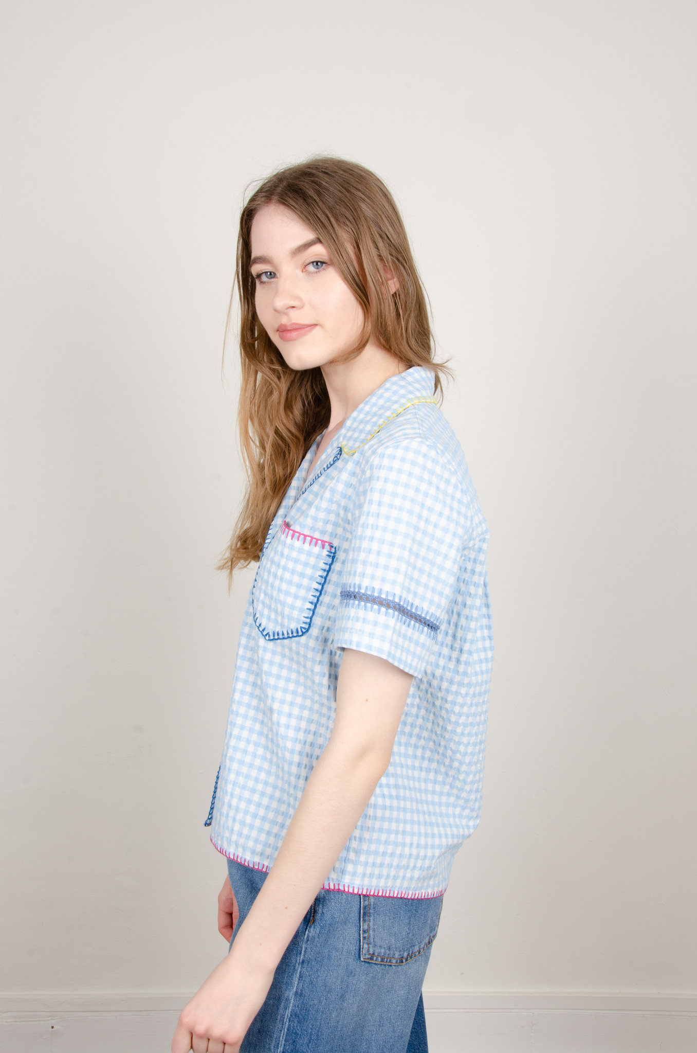 GINGHAM YARN EMBROIDERED SHIRT-2